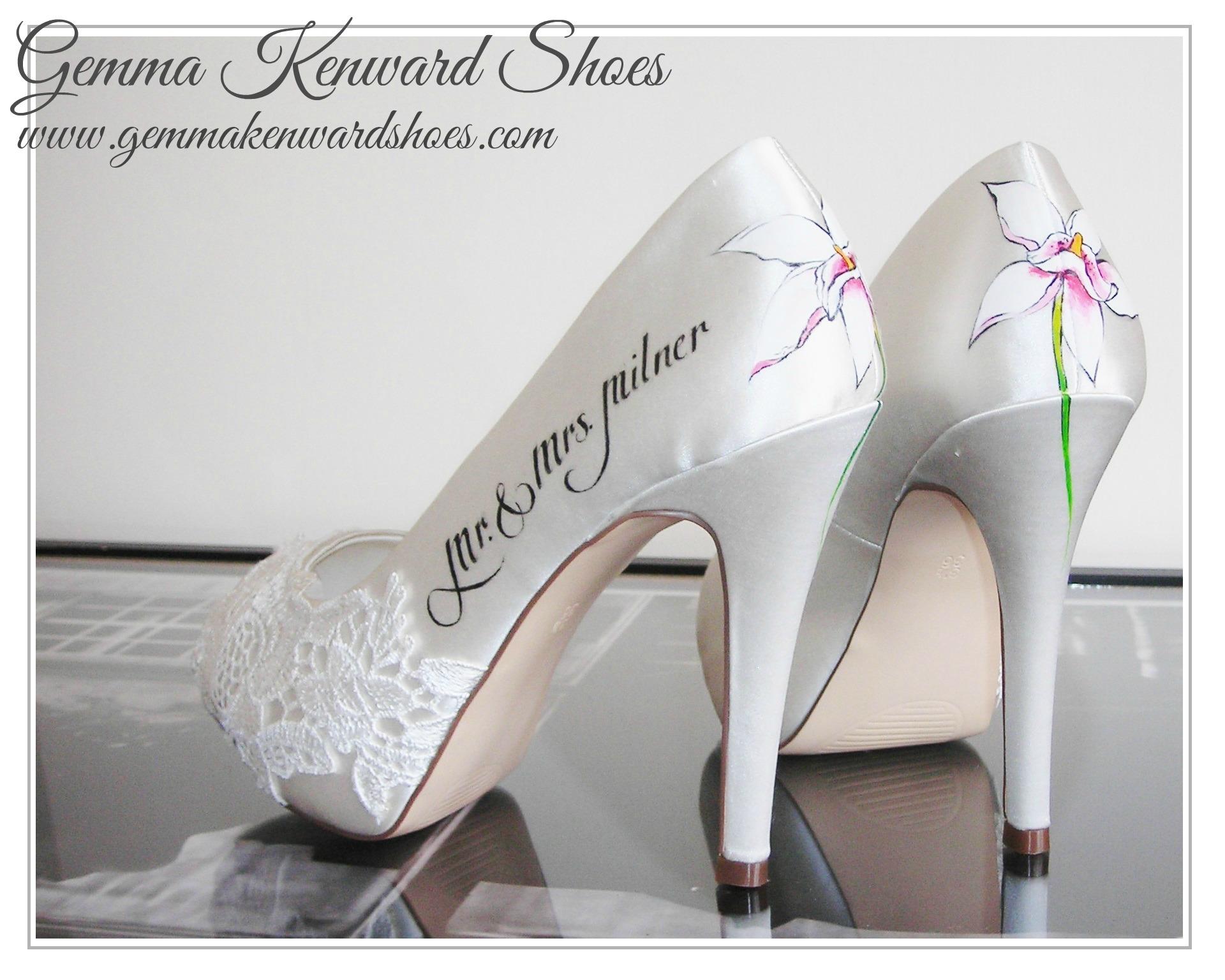 Cymbidium orchid hand painted wedding shoes on white .JPG