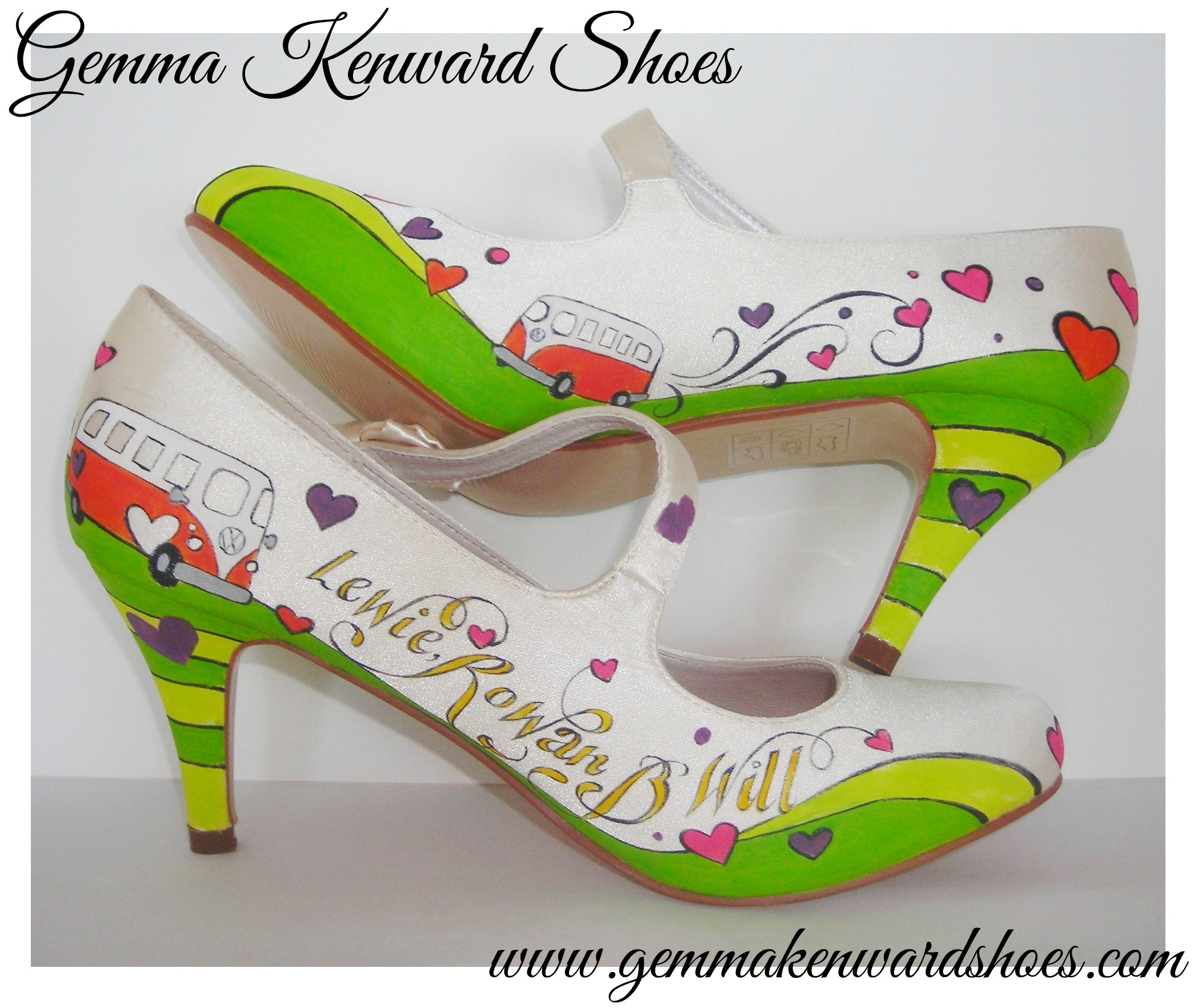 Hand Painted wedding Sarah Janes Shoes with campervans, hearts, names and date of the wedding.