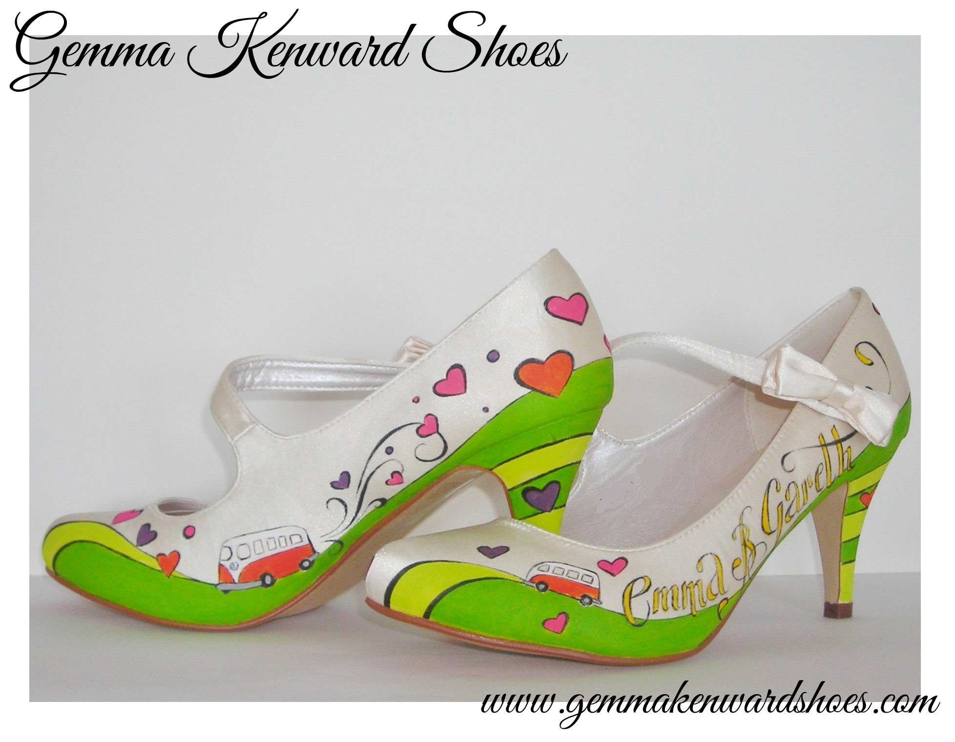 Hand Painted wedding Sarah Jane Shoes with camper vans, with pink, purple, lime green, orange and yellow hearts