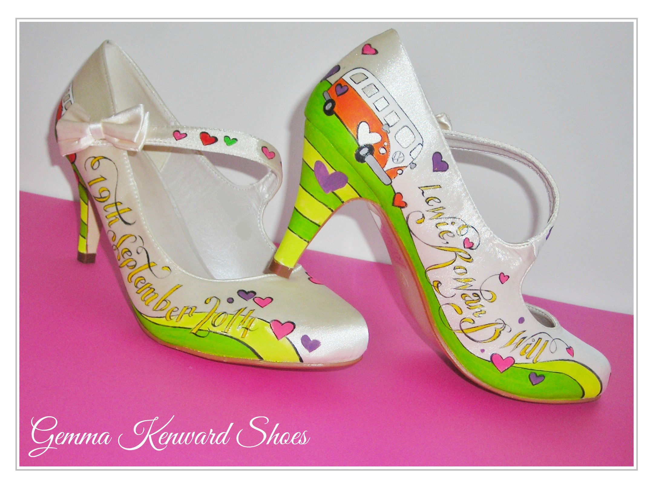 Wedding shoes hand painted with orange campervans and hearts on lime green grass