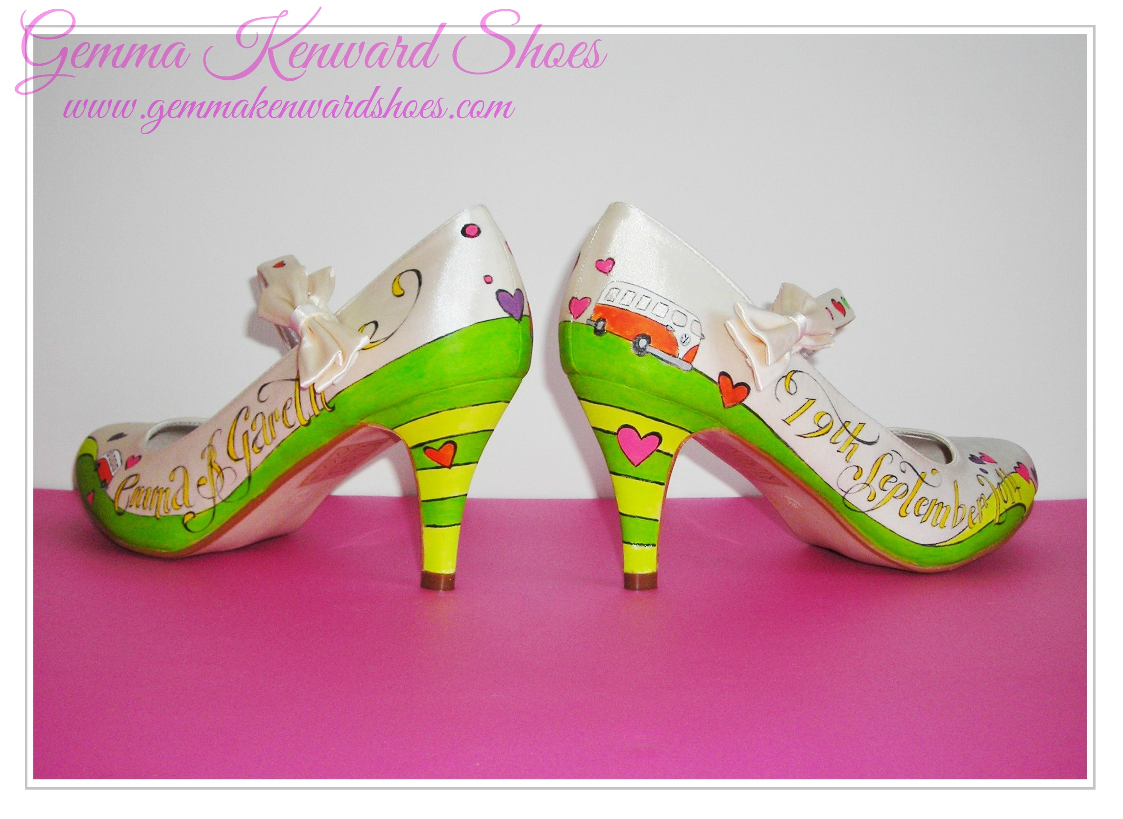 Fun Hand Painted Wedding shoes with campervans
