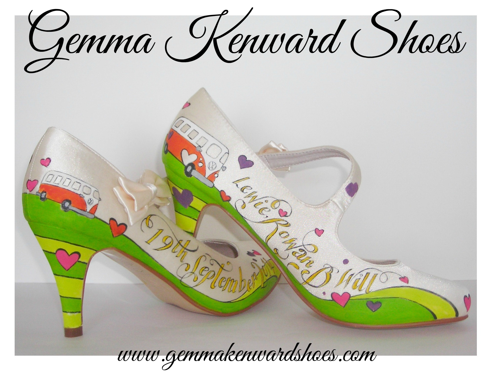 Customised Hand  Painted Wedding shoes with campervans and hearts
