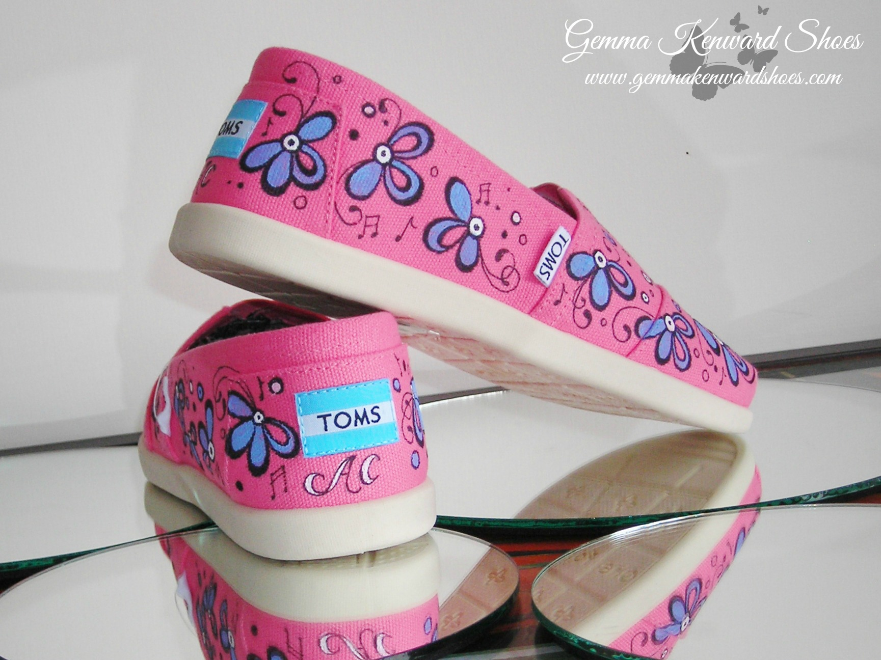 The Vamps hand painted childrens Toms customised with flowers and musical notes