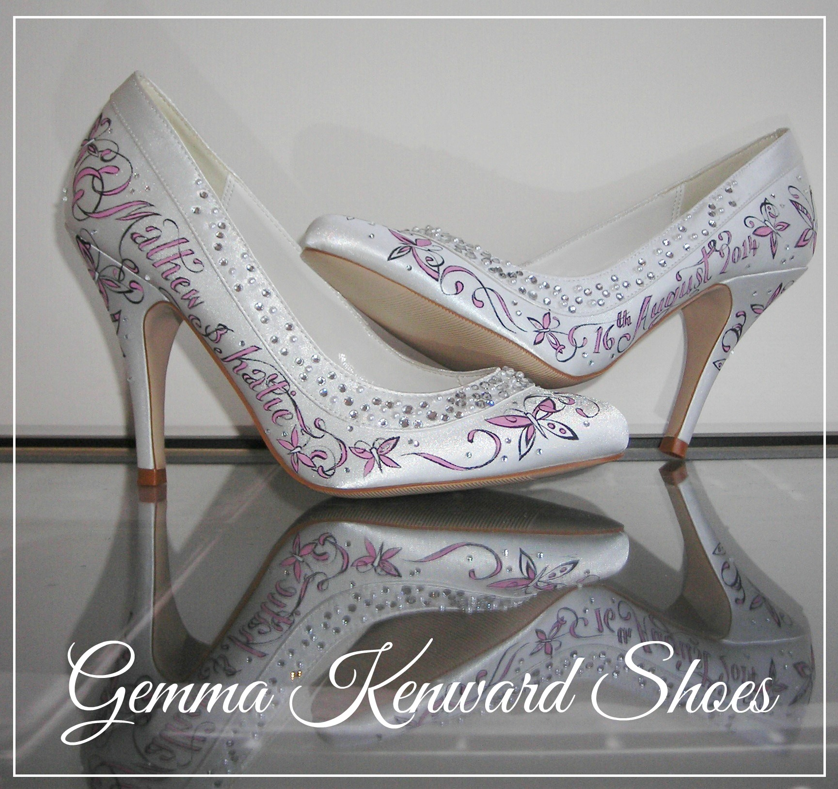 Hand Painted Wedding shoes with pink butterflies