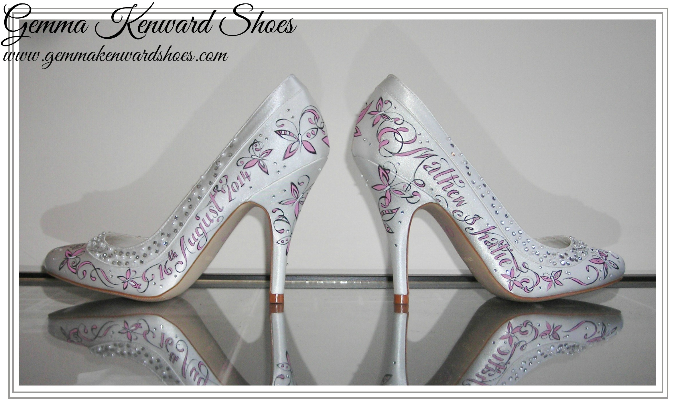 Custom painted wedding shoes with dusky pink butterflies and diamantes