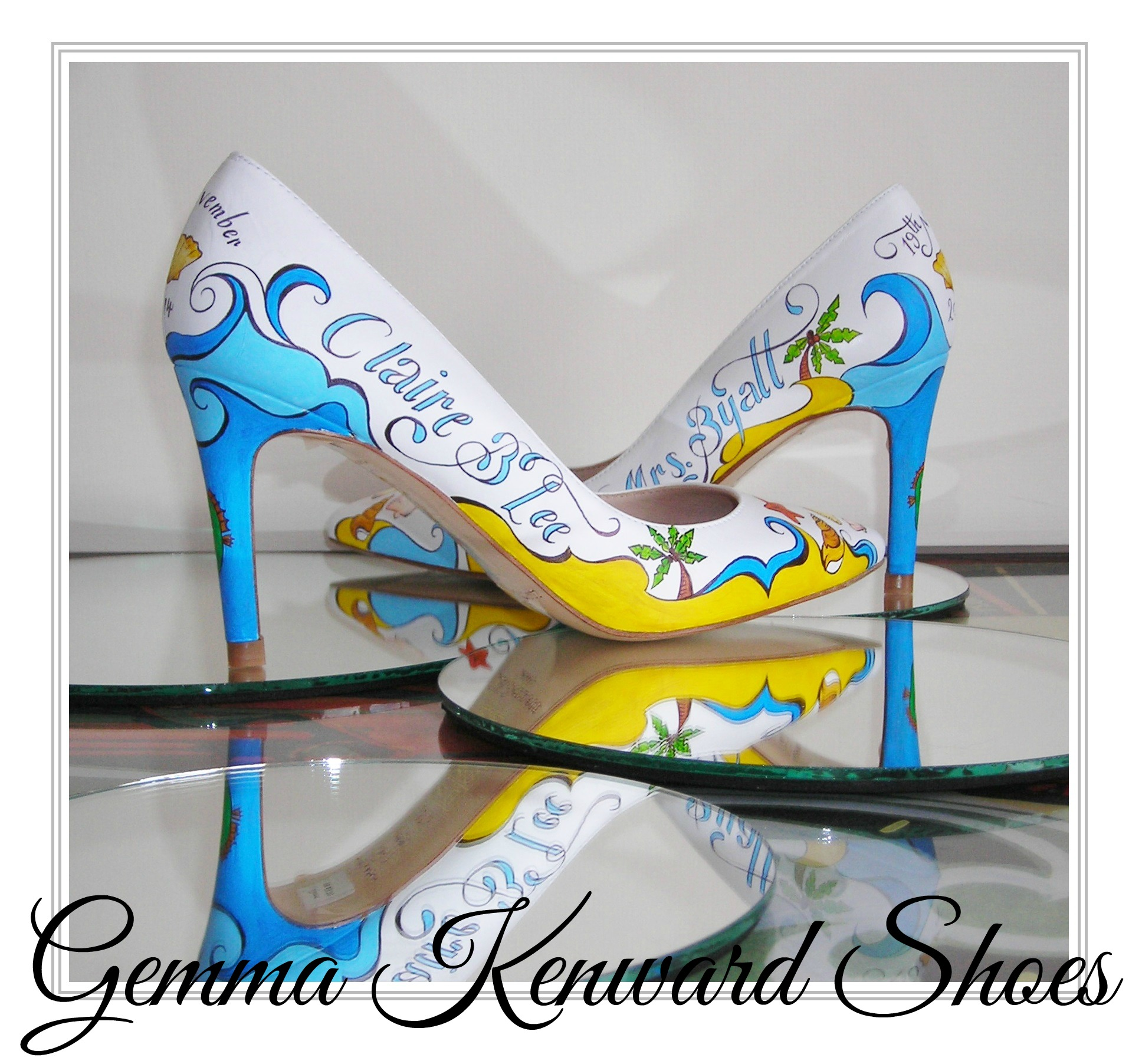 Yellow and Blue Hand Painted Bridal Shoes