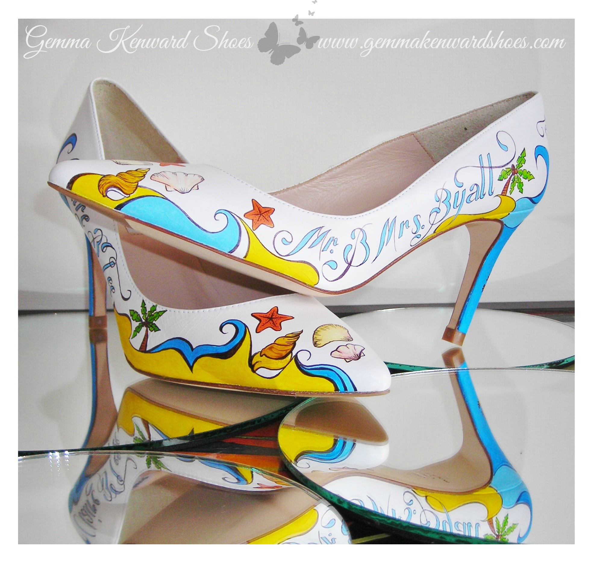 Bespoke Hand Painted Wedding shoes Customised With Shells, Waves and Sand