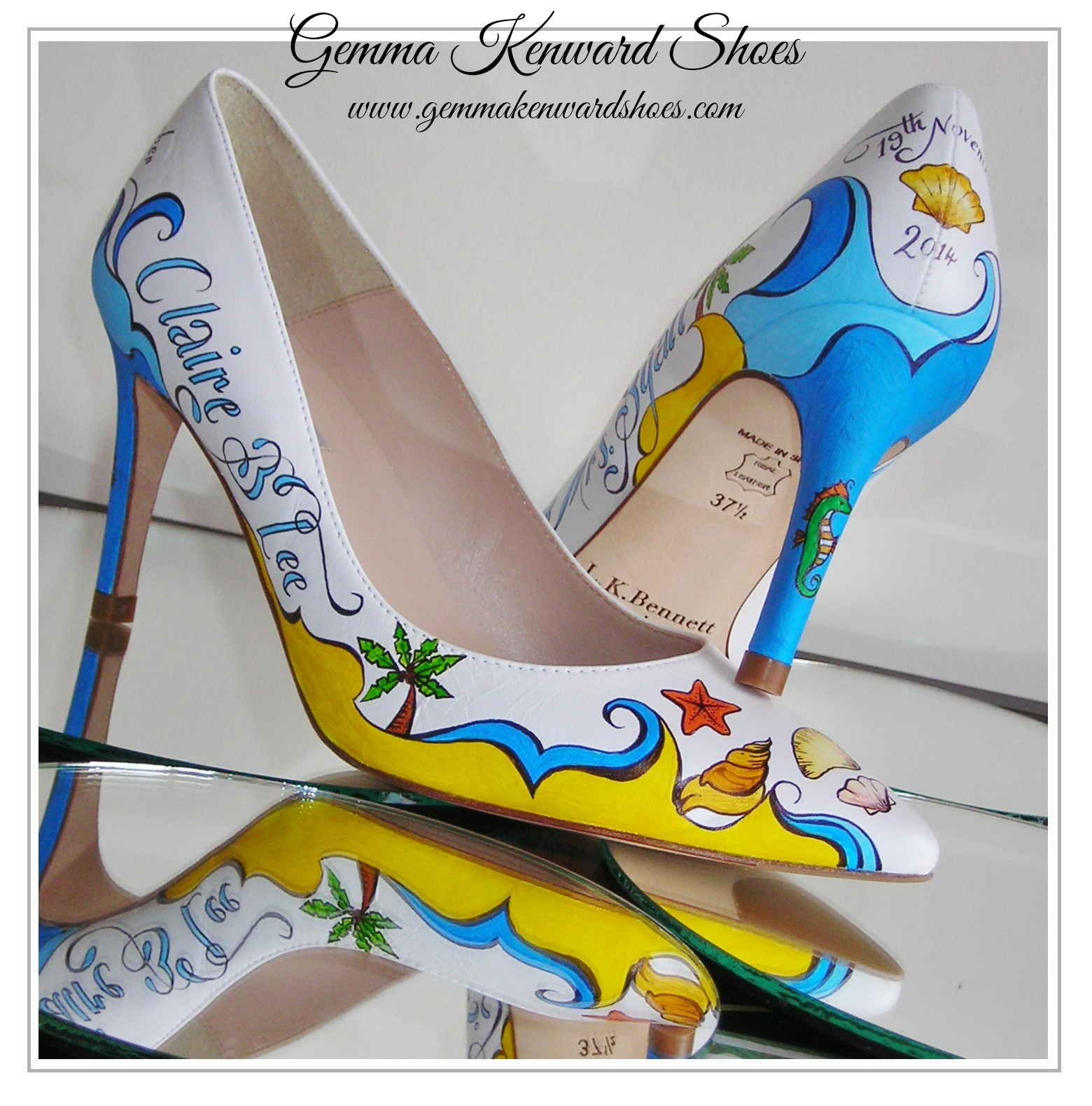 Personalised Painted Wedding Shoes with names, dates and shells