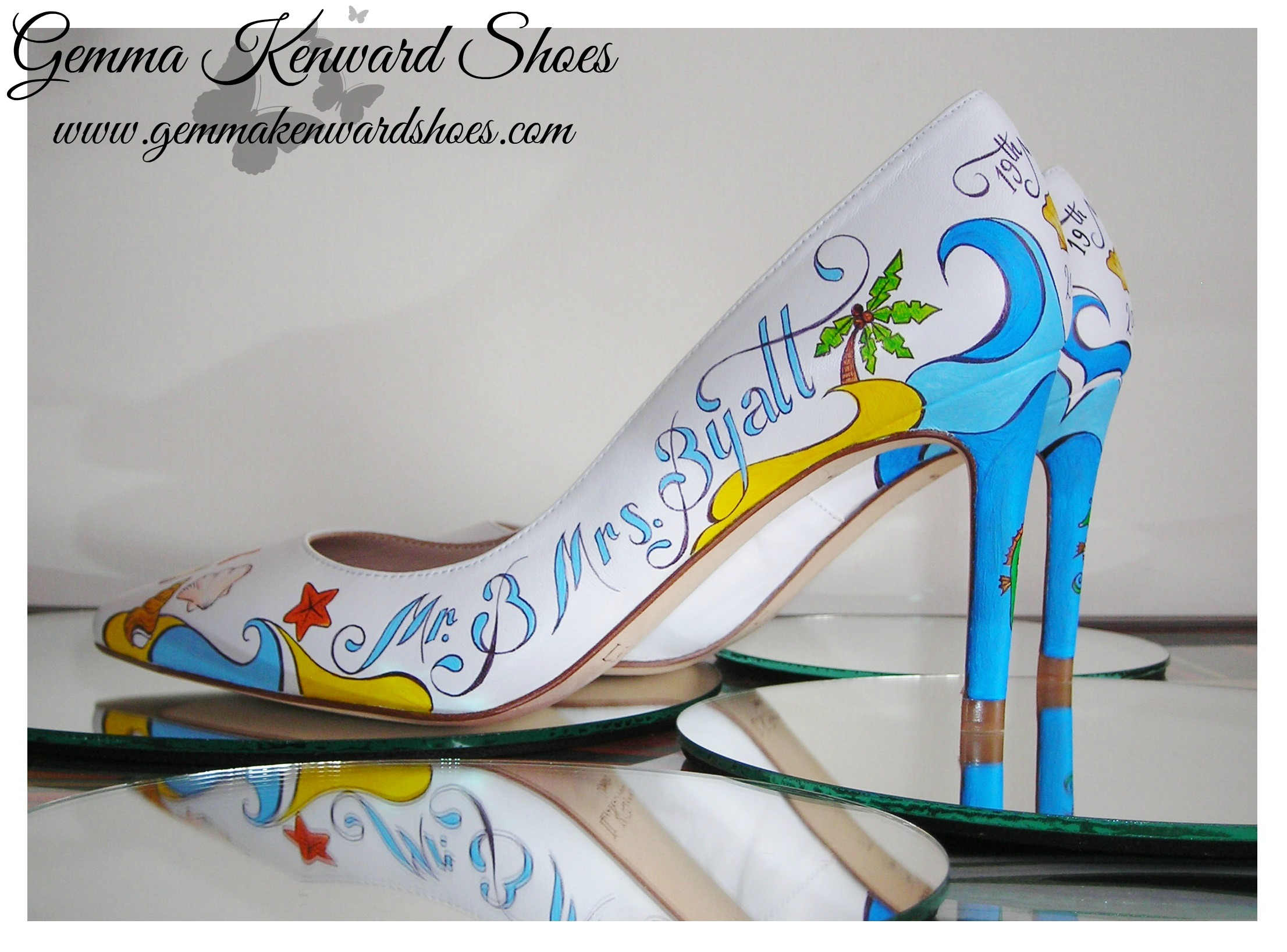 Hand Painted sea side shoes for a beach wedding.