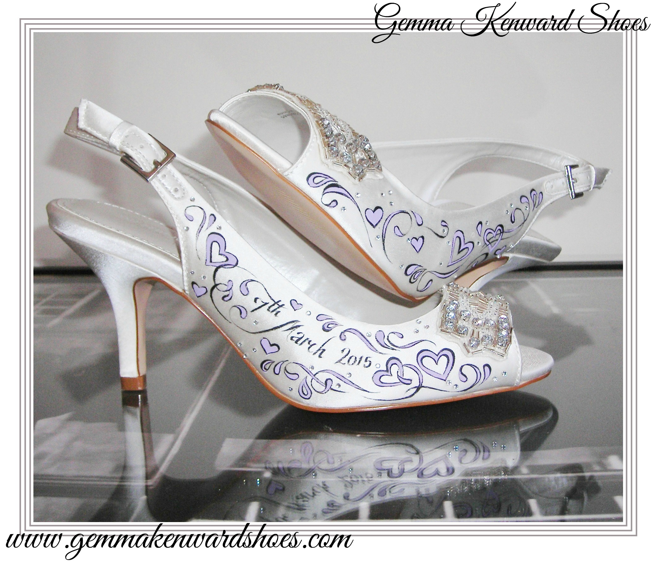 Hand painted lilac wedding shoes with hearts