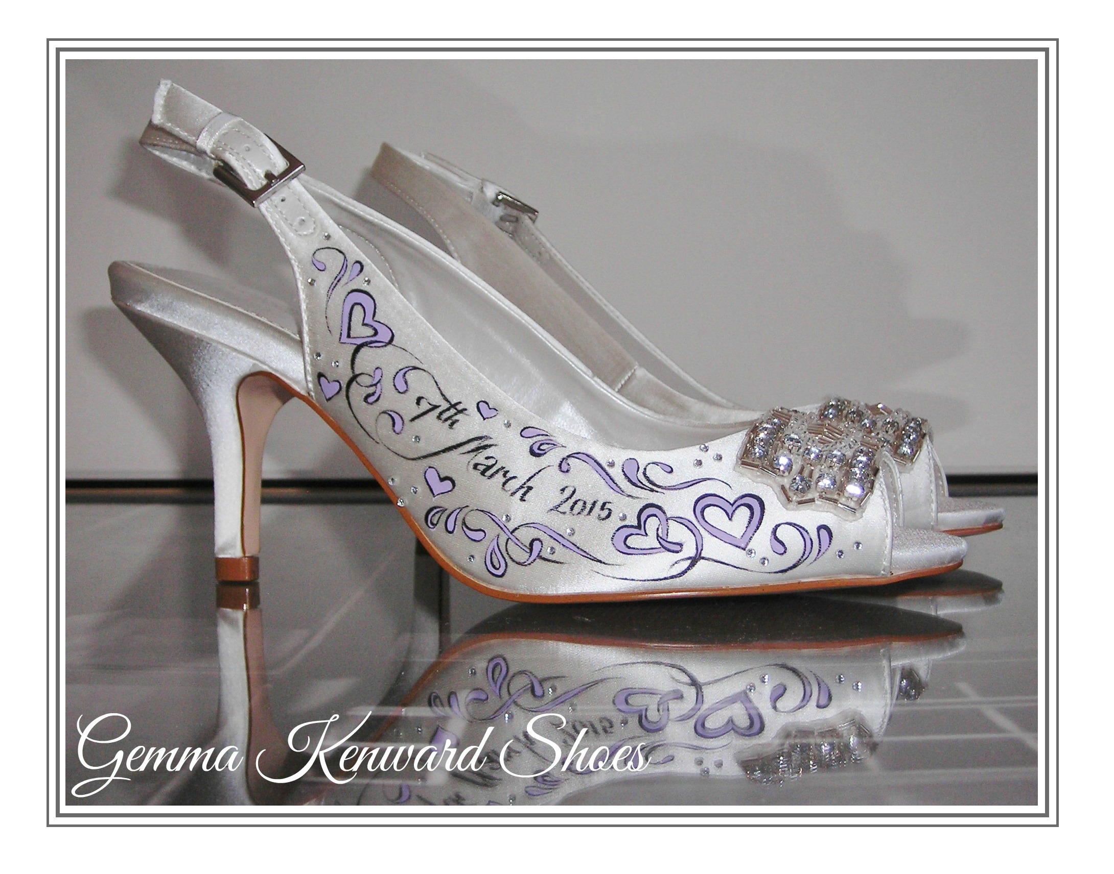Liliac hearts and diamantes hand painted onto satin white shoes