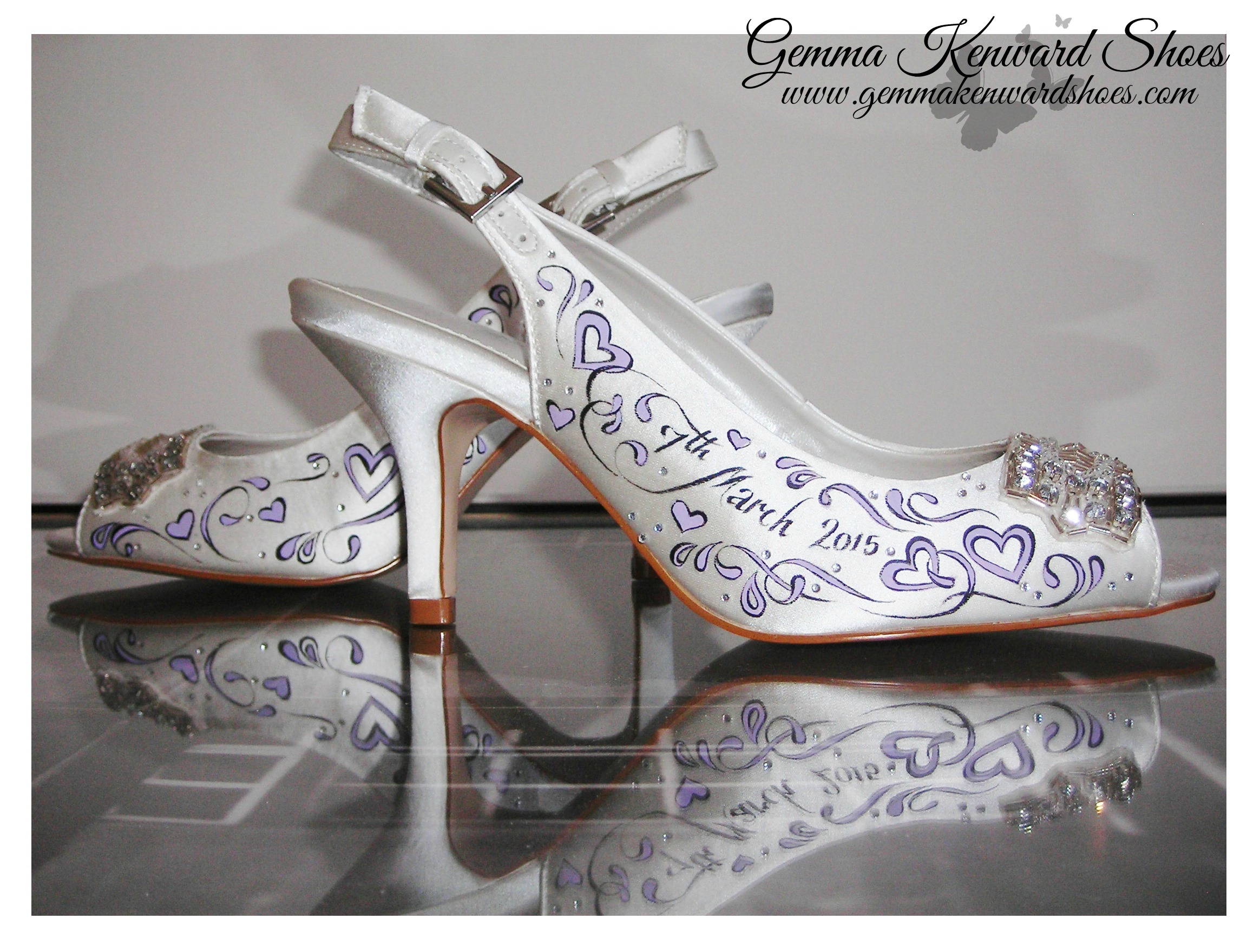 Lilac purple hand painted wedding sling backs