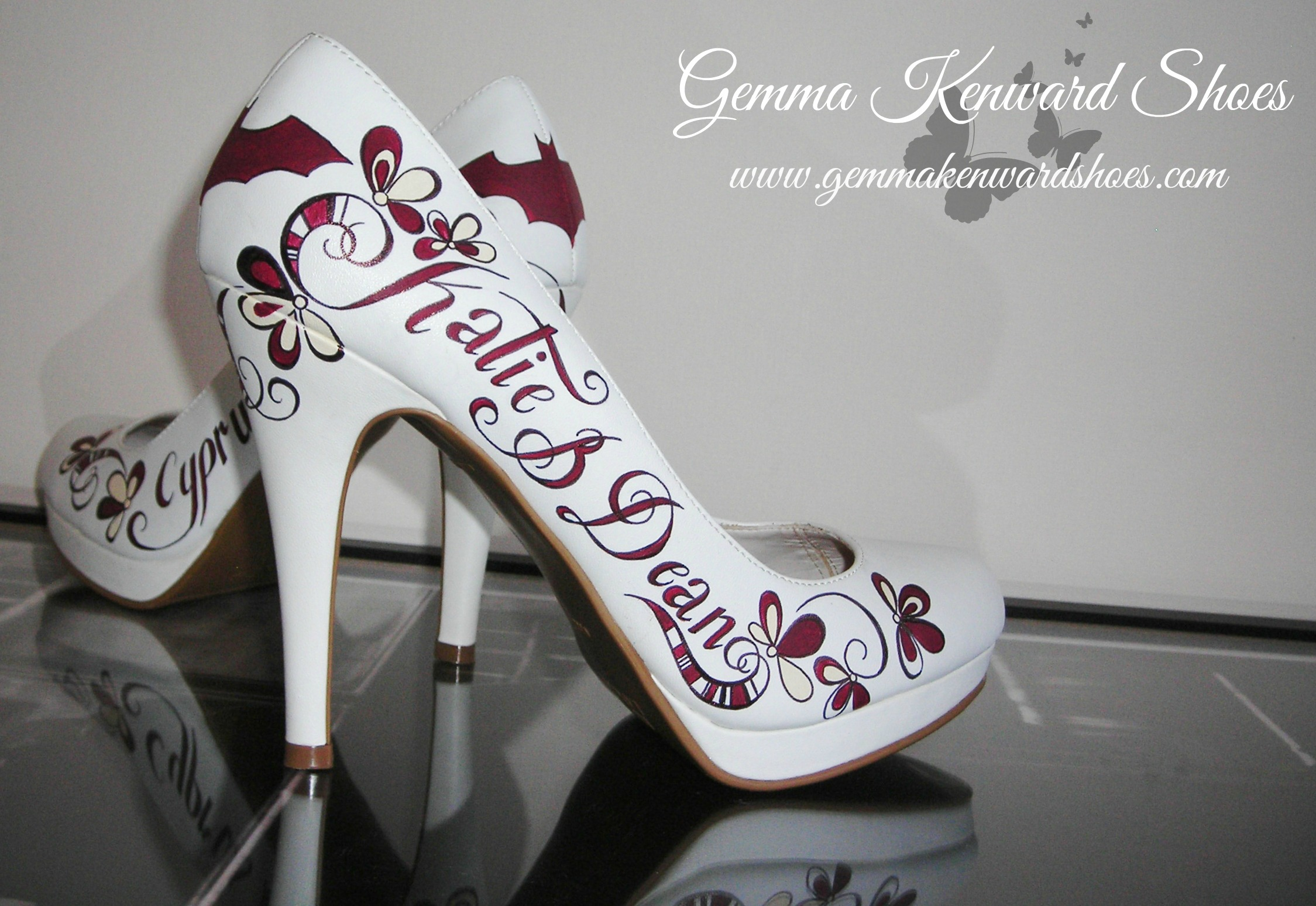 Hand painted personalised wedding shoes with Batman symbols, stripes and flowers