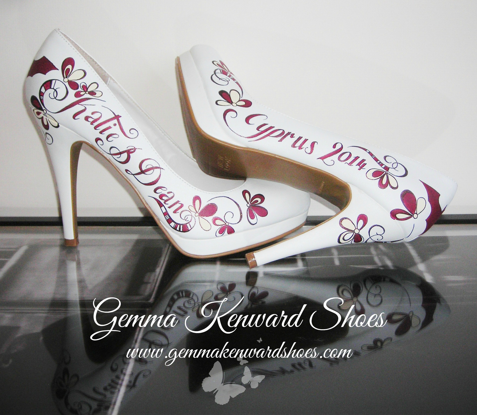 Wedding court shoes customised with Batman symbols and non-girly flowers
