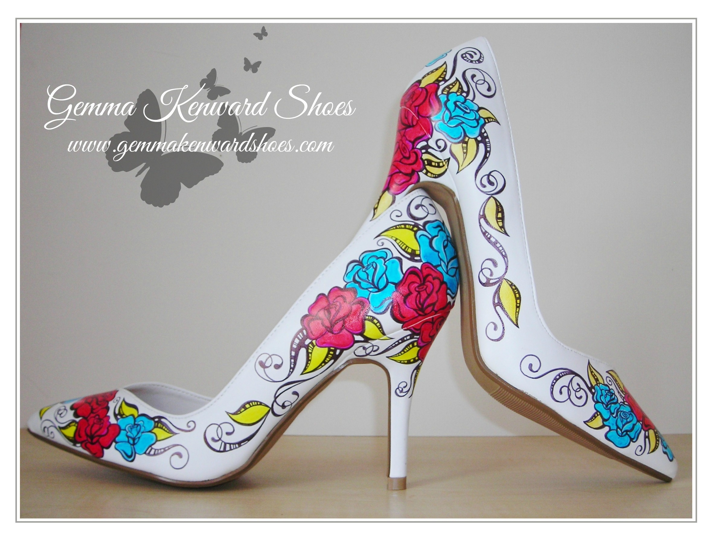 personalised wedding shoes with red and blue roses.JPG