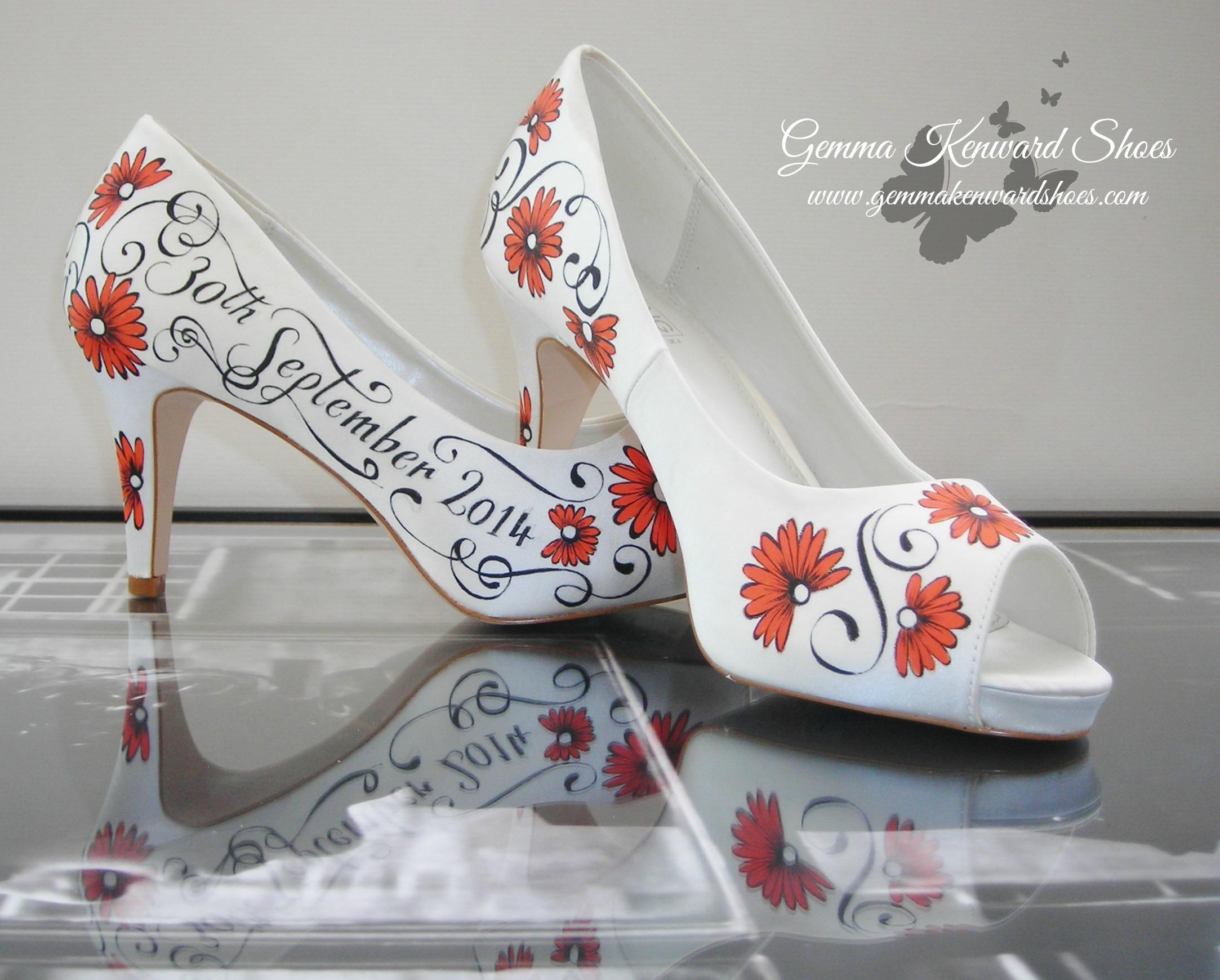 Hand Painted customized wedding shoes with orange gerbera flowers.JPG