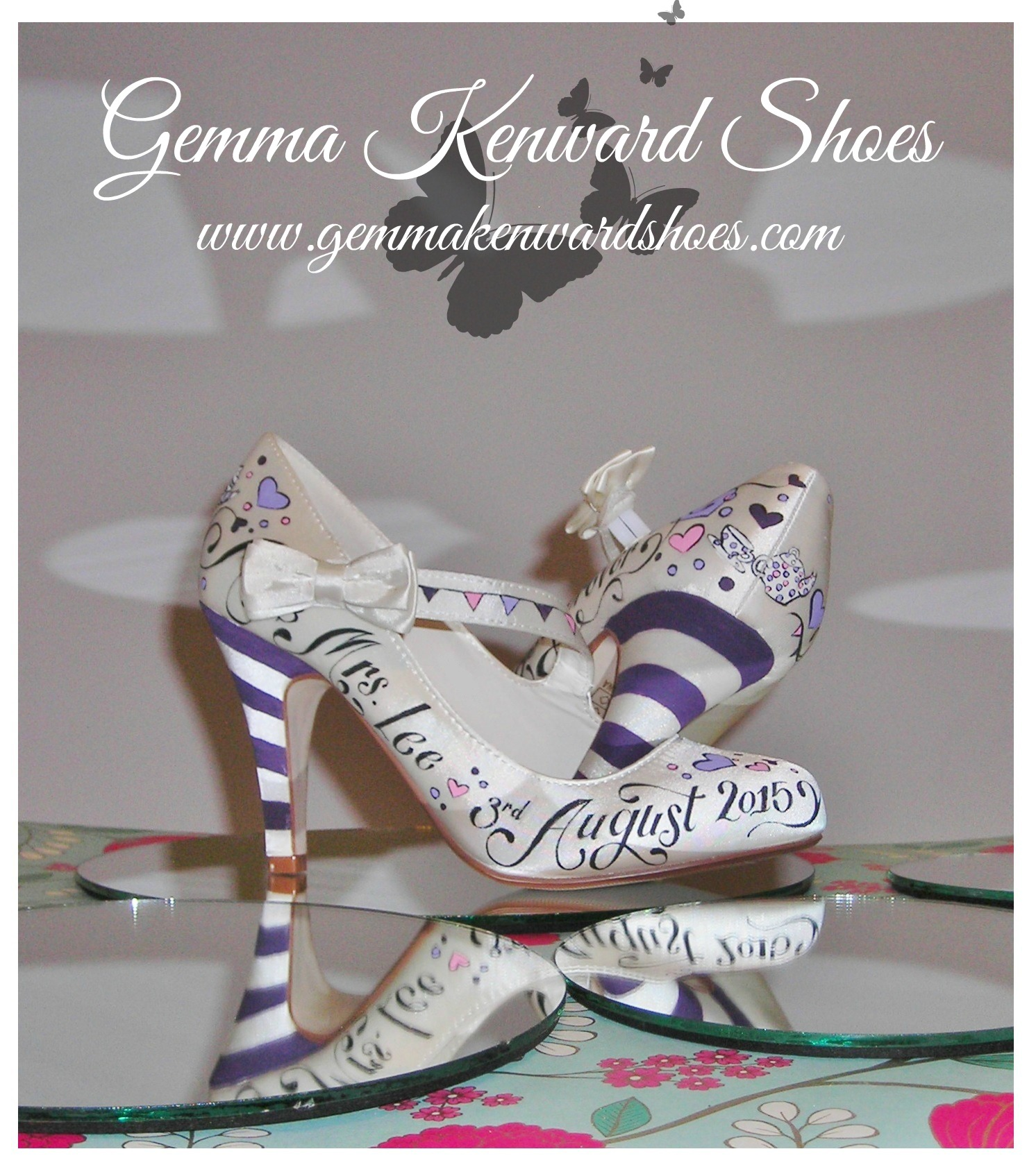 Hand painted teapots on wedding shoes .JPG