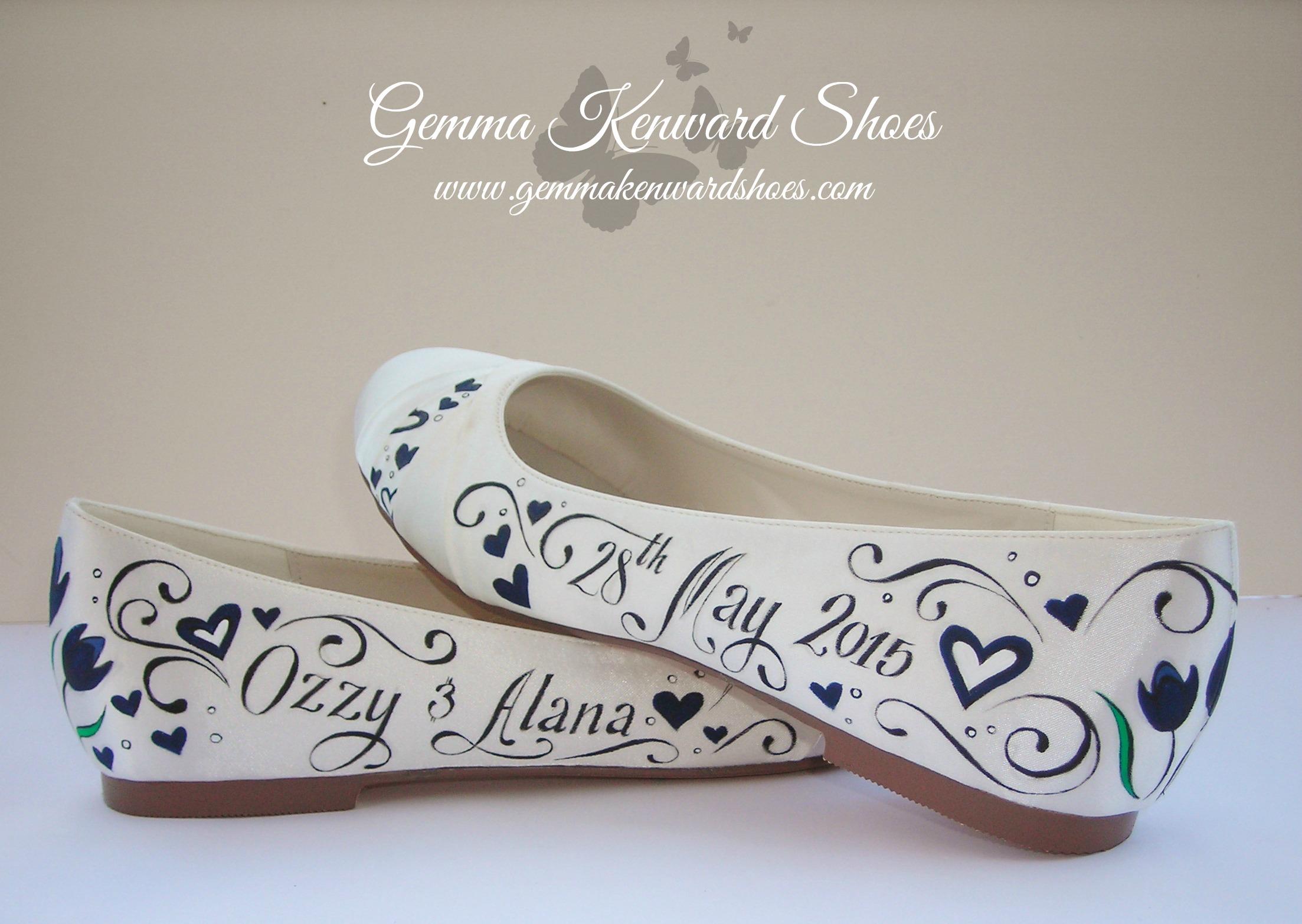 hand painted flat bridal wedding shoes.JPG