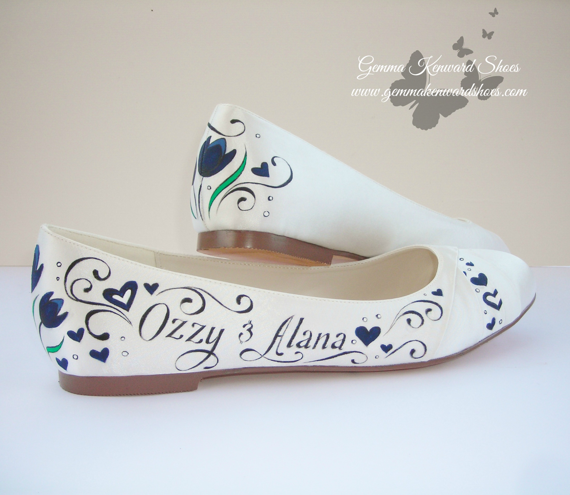 Hand Painted flat ballet wedding shoes.JPG