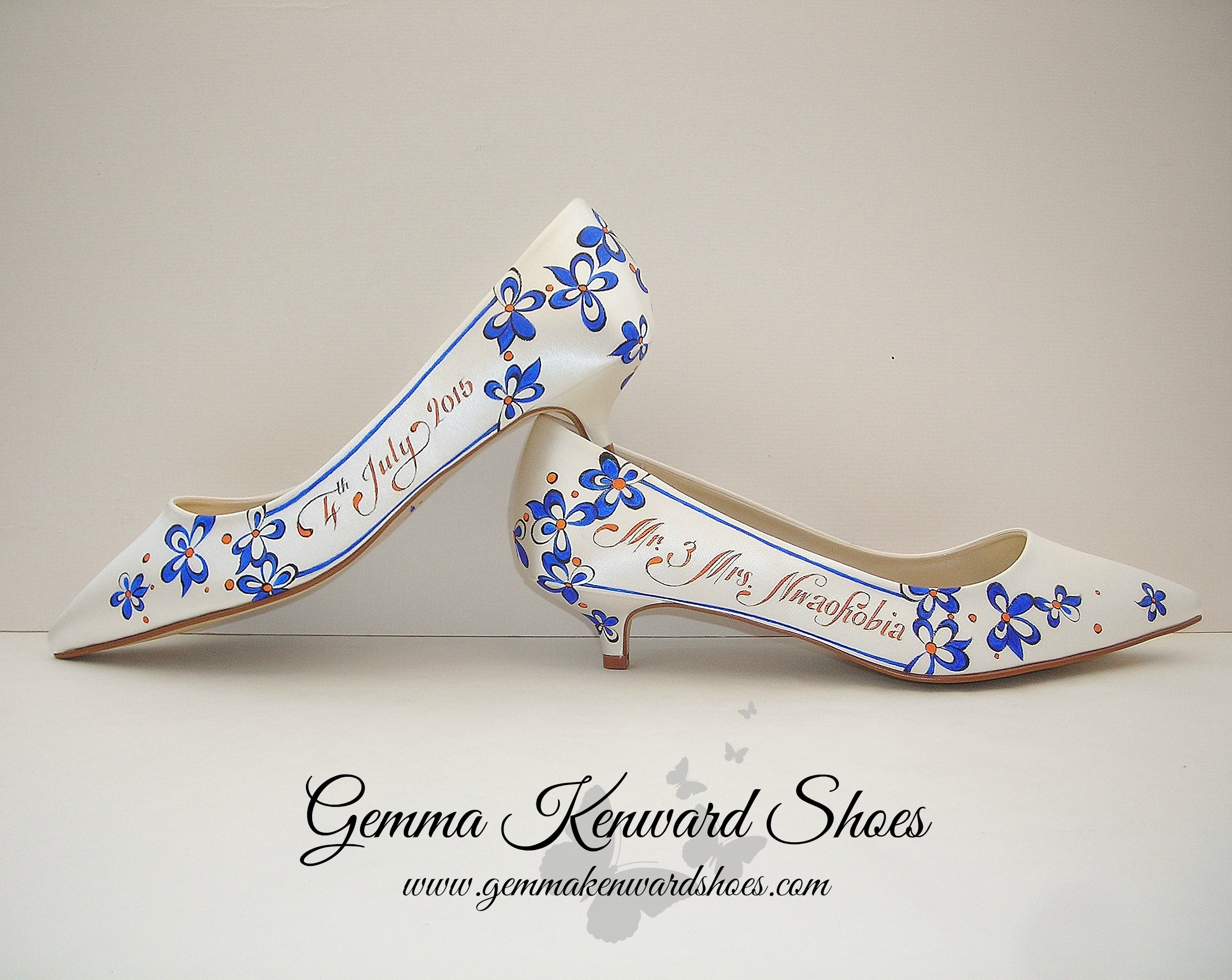 Hand Painted Wedding Shoes with Blue Flowers and Orange .jpg