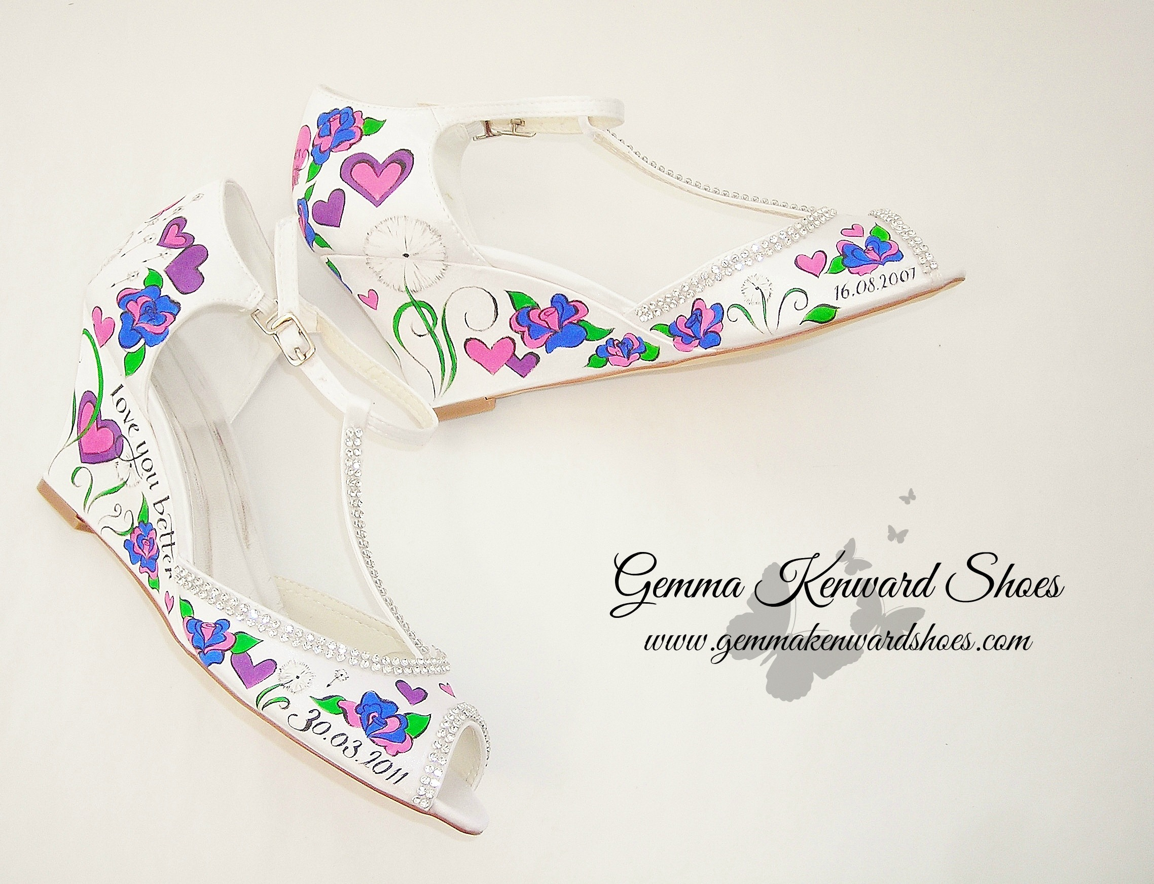 Personalised bridal wedges with hearts and roses.jpg