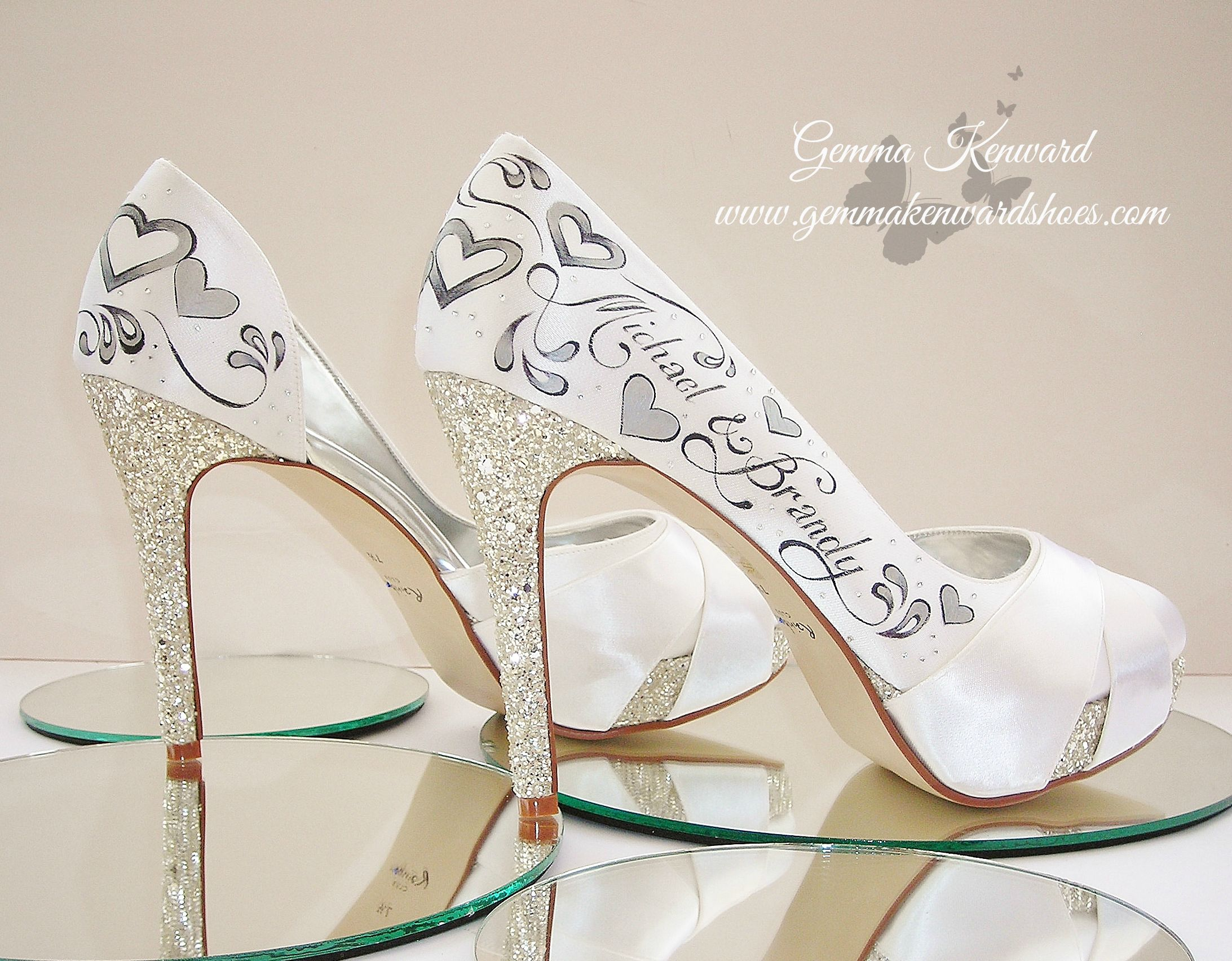 Personalised wedding shoes for a gorgeous bride in America who intends to play the shoe game with these very shoes!