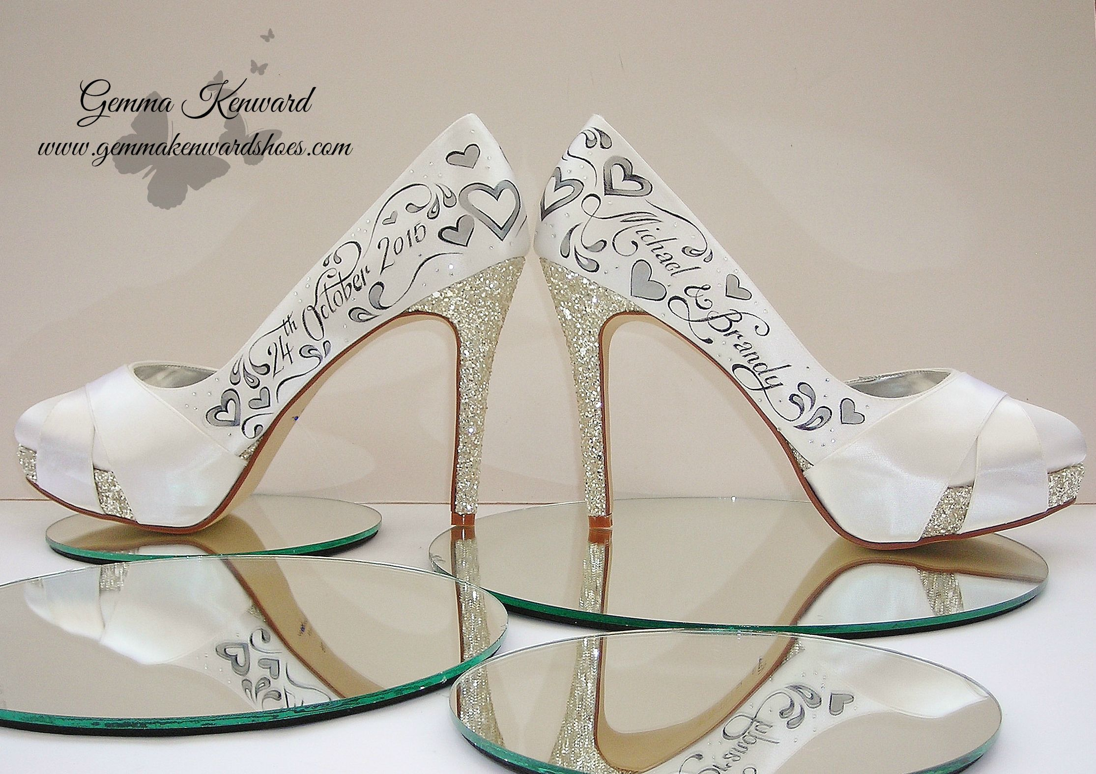 Wedding shoes personalised with silver hearts and diamantes for Brandy and Michael, our lovely competition winners!