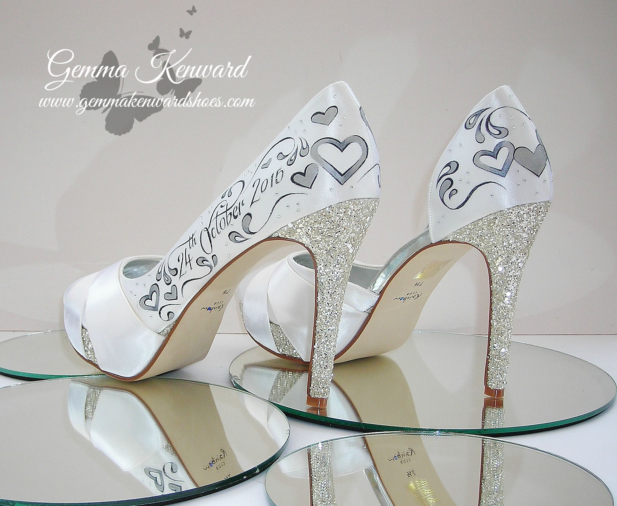 Diamantes bridal shoes hand painted by us!