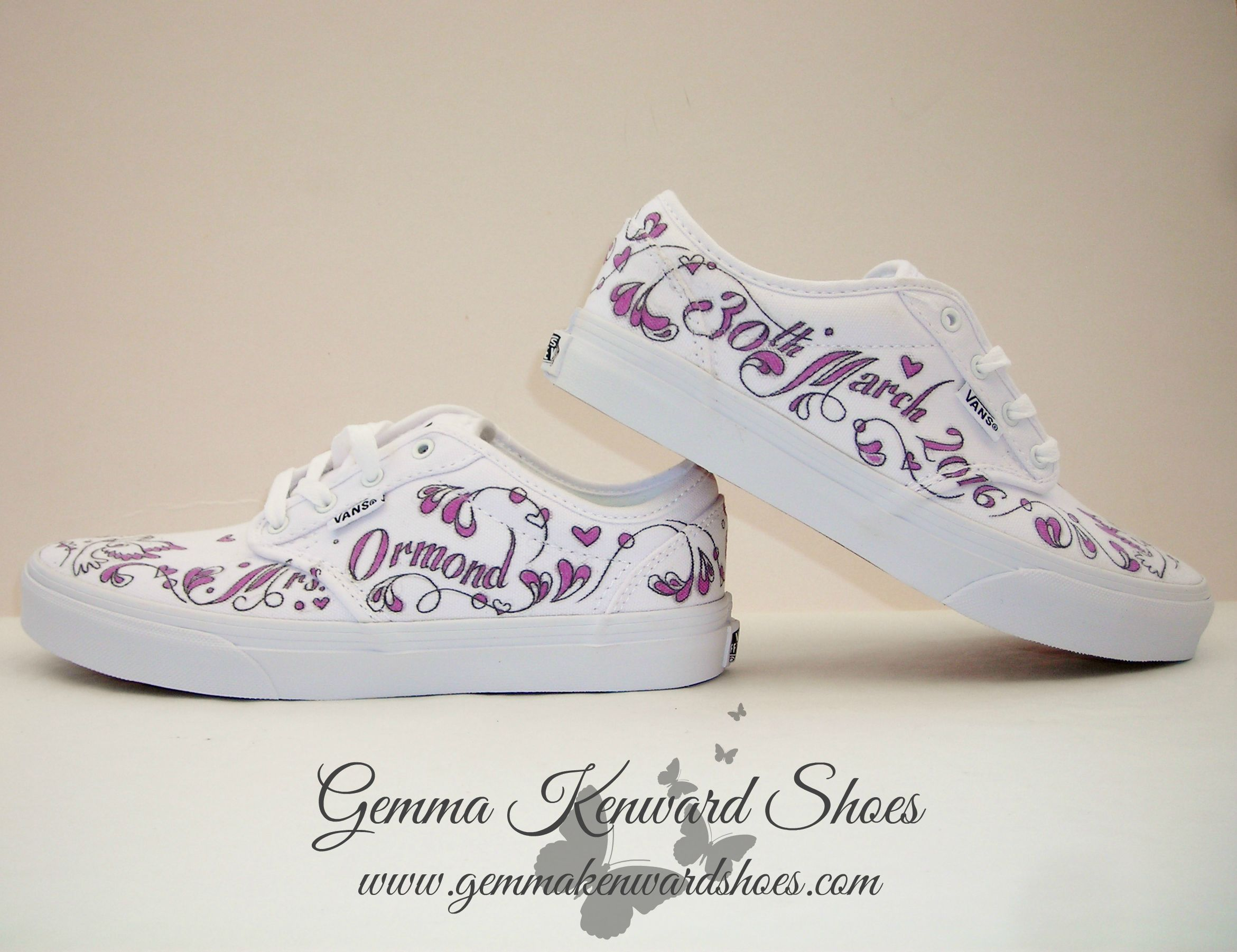 Purple wedding shoes custom painted