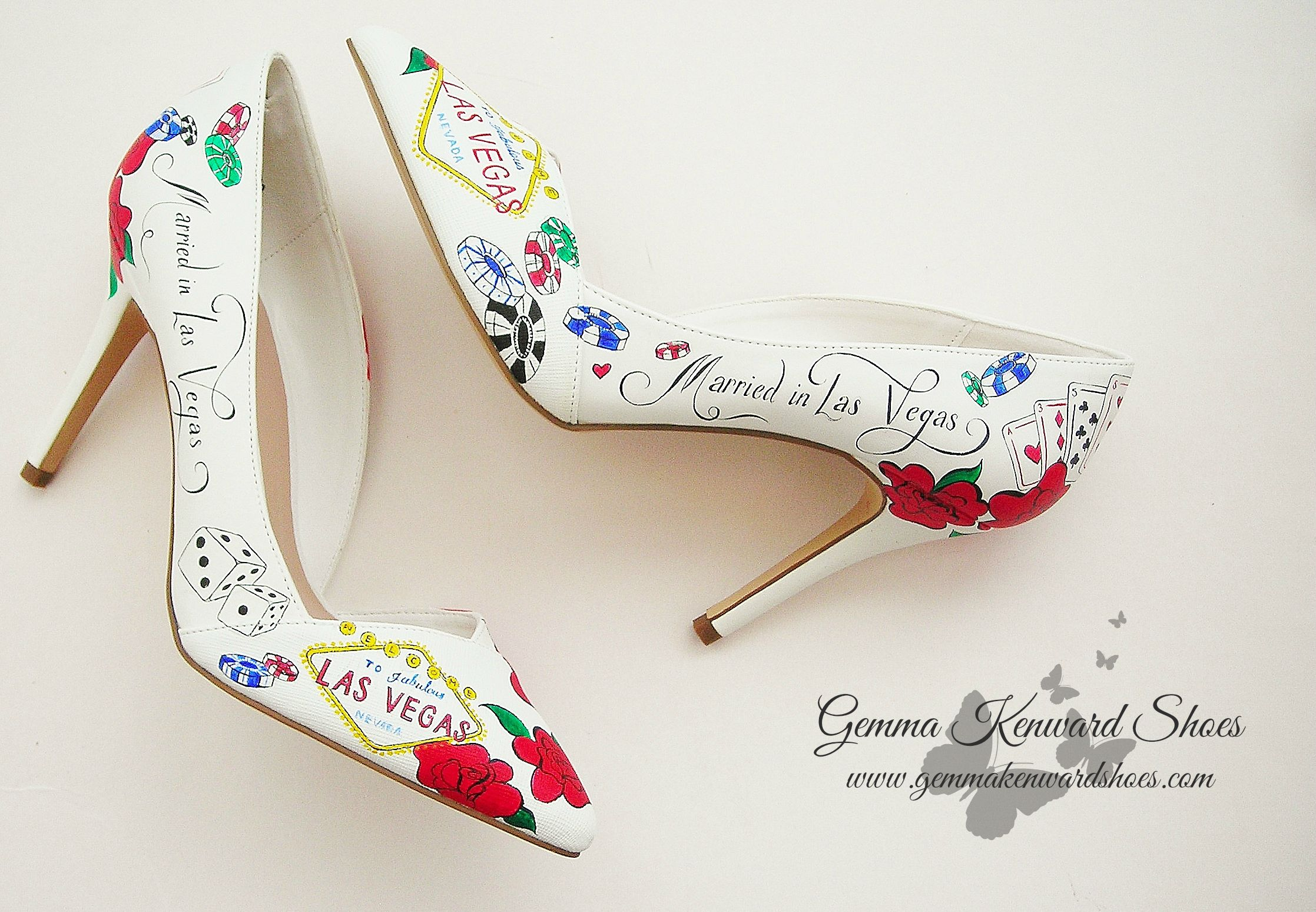 Hand Painted Las Vegas Bridal Shoes - with playing cards, dice and gambling chips.