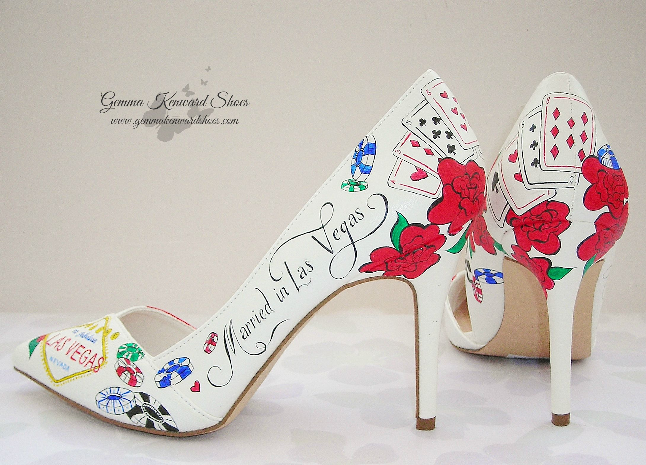 """Personalised Las Vegas theme wedding shoes with the quote - """"Married in Las Vegas""""."""