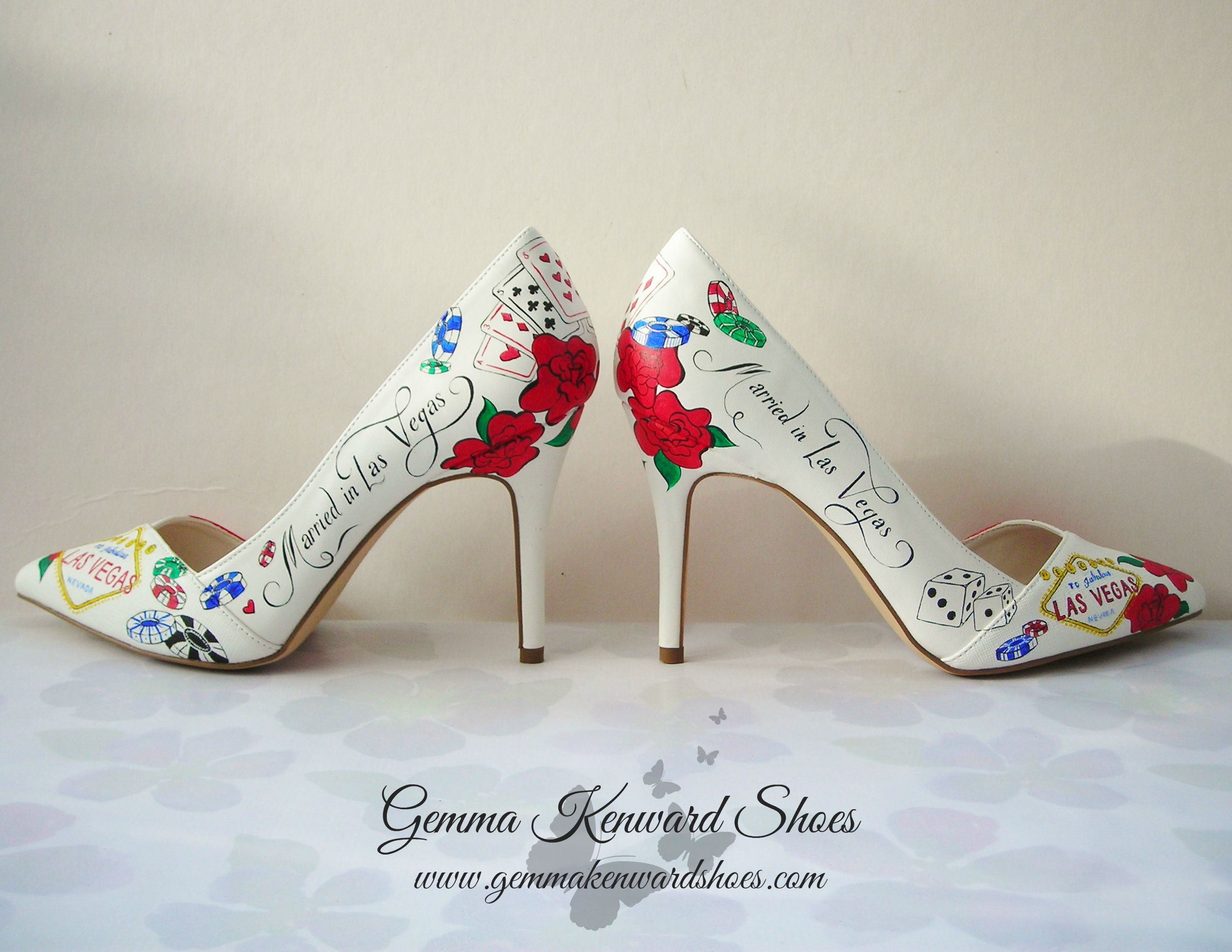 Married in Vegas Wedding shoes personalised with dice. chips and the Las Vegas sign