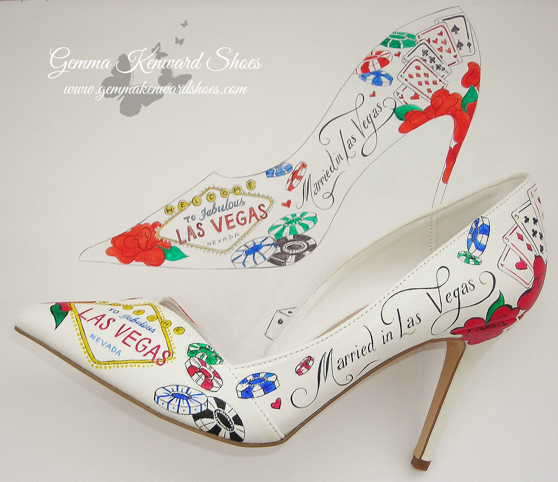 From draft to fruition! Hand Painted bridal shoes, bespoke and fabulously personal to our rocking bride