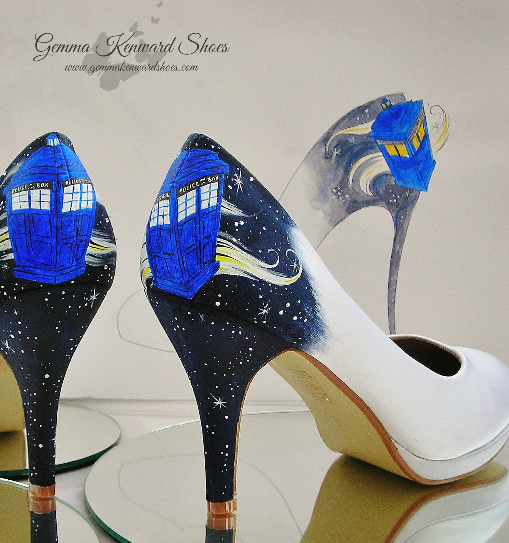 Doctor Who Tardis Shoes with the orginal draft of the brides wedding shoes in the background