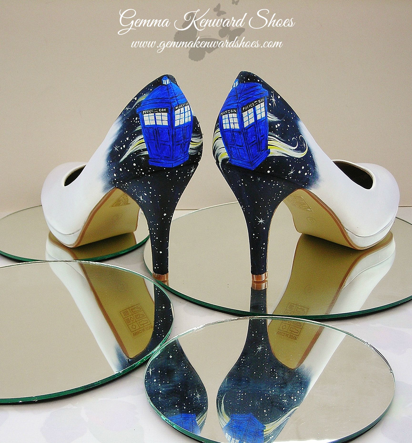 Silk Rainbow Club Wedding Shoes hand painted with a Tardis and a galaxy for a Doctor Who themed wedding