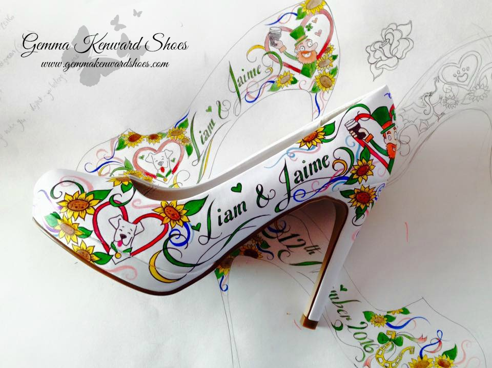 Wedding Shoes hand painted with leprechauns, roses and sunflowers