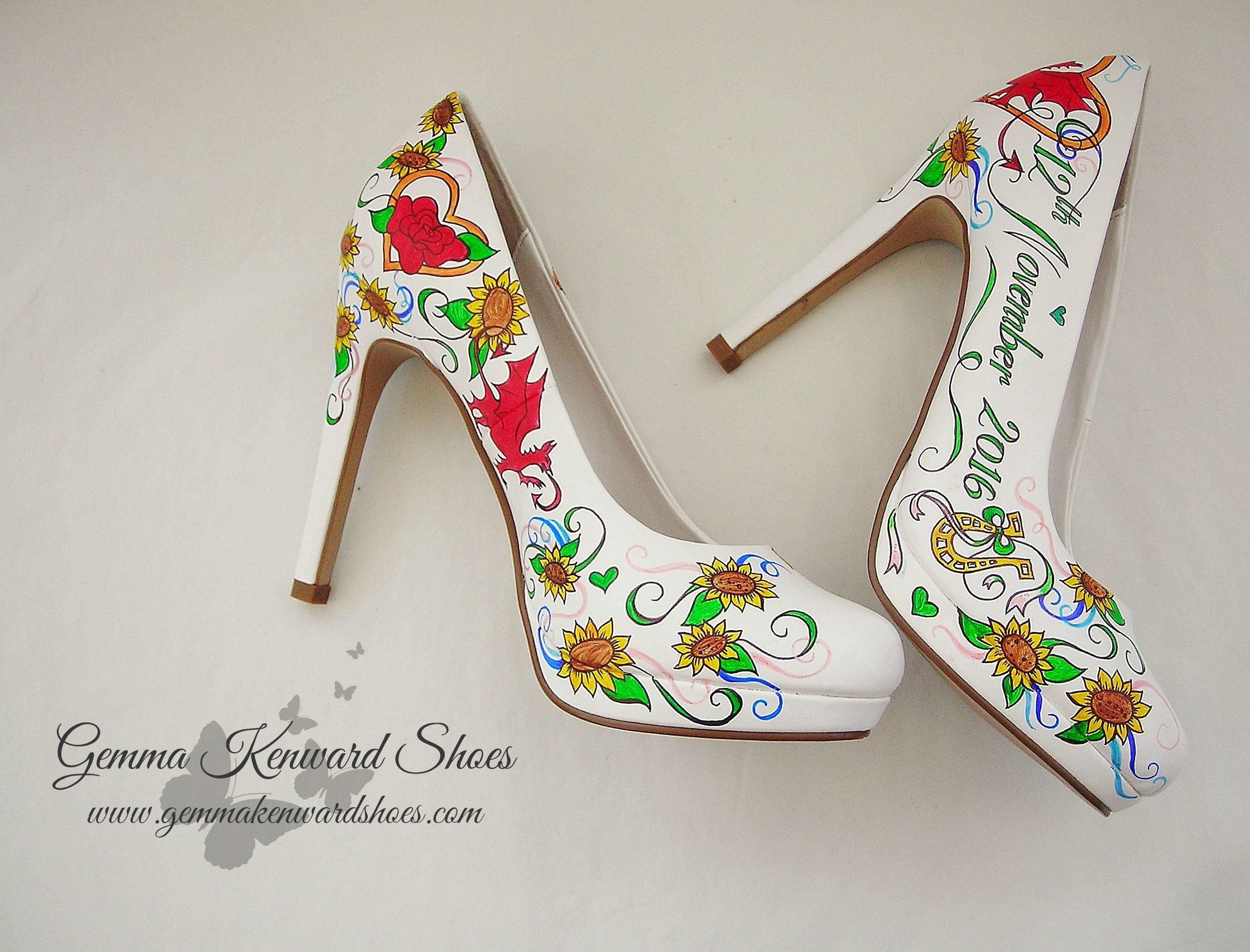 Personalised Leprechaun hand painted Irish theme bridal shoes