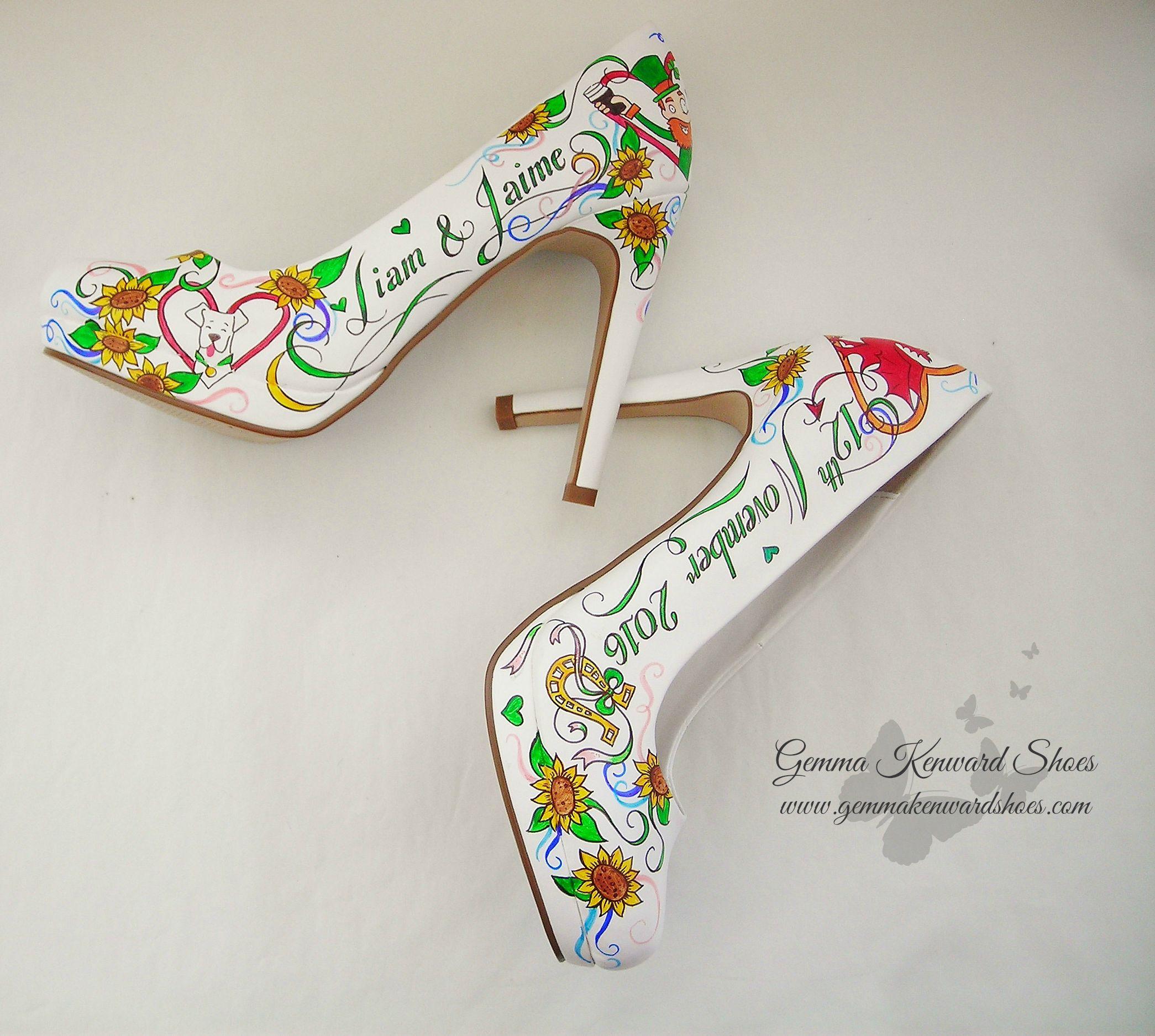 Personalised white leather wedding shoes hand painted with shamrocks, horseshoes and sunflowers