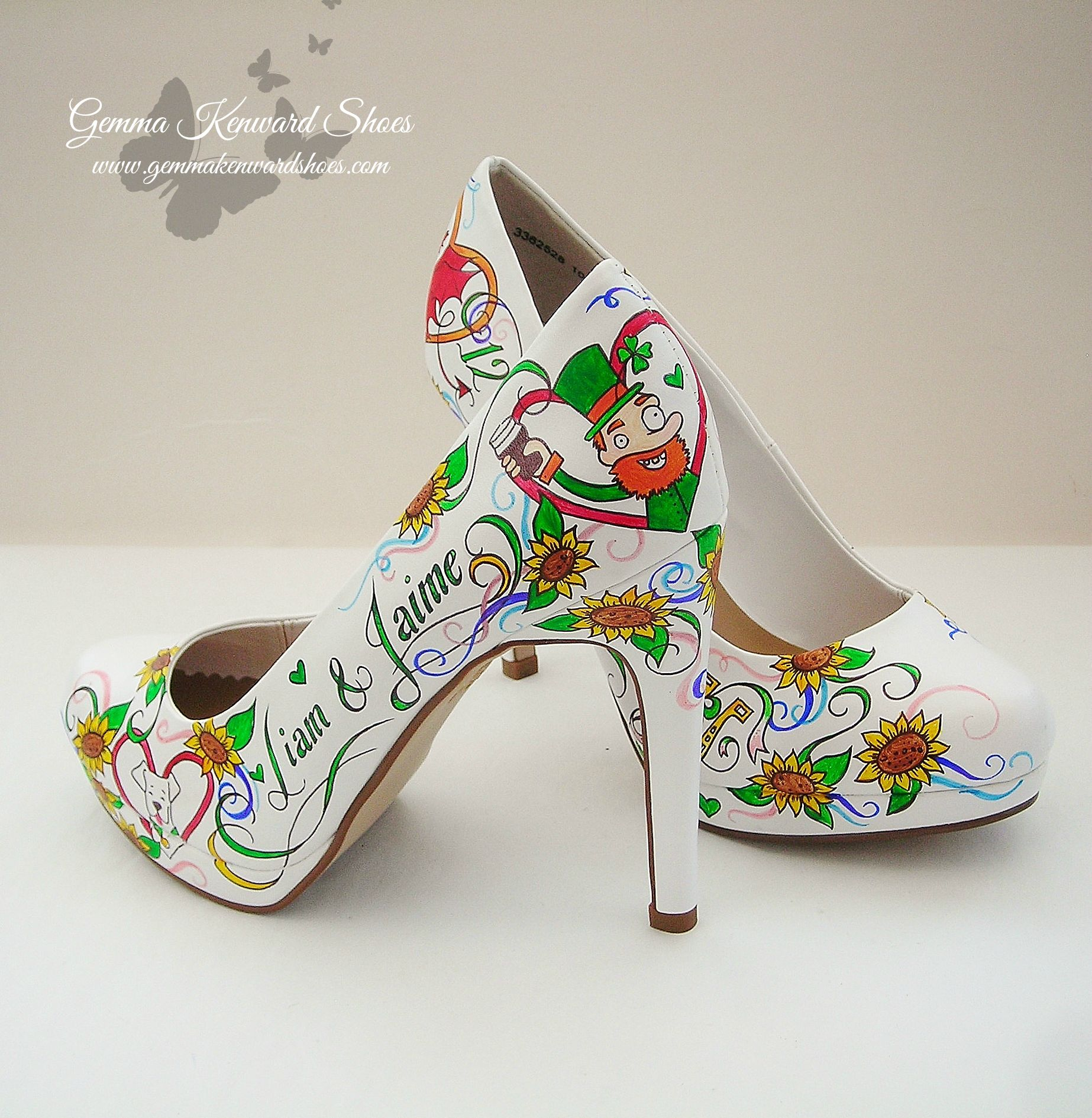 Hearts and lucky horseshoes hand painted wedding shoes