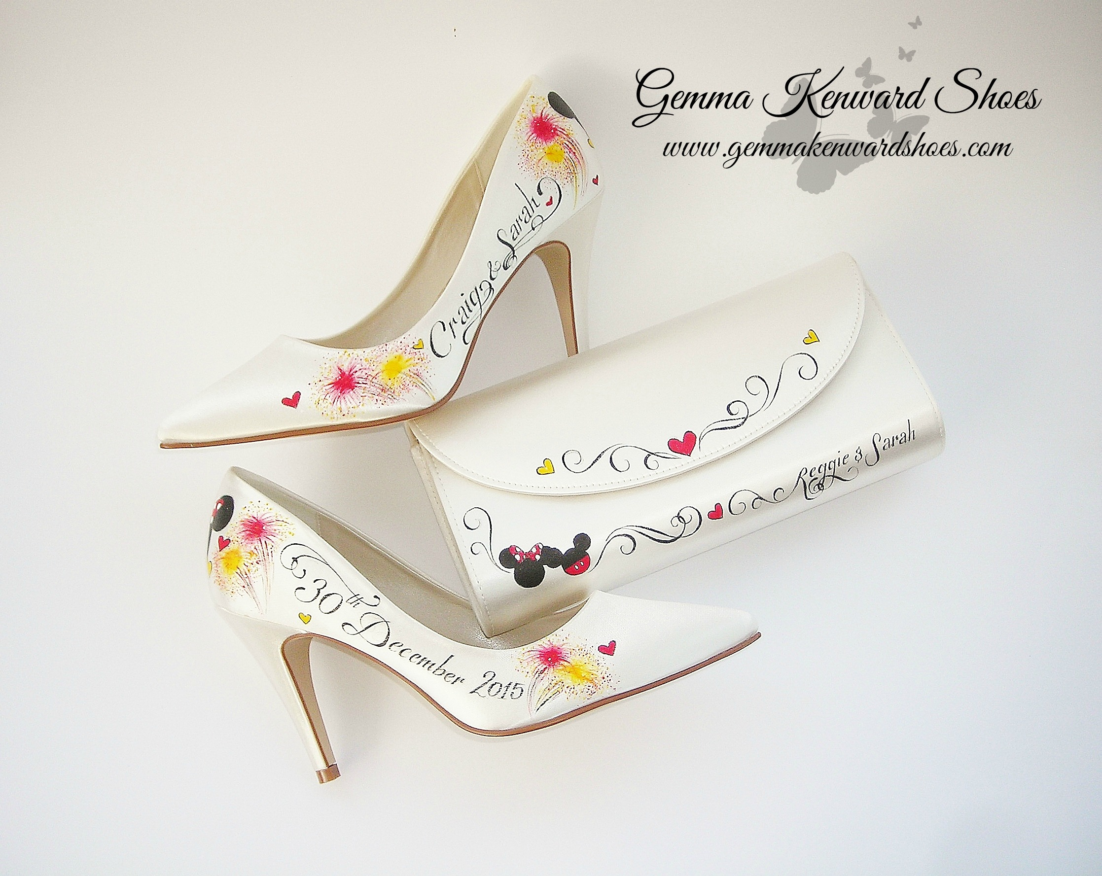 Hand Painted Mickey and Minnie Mouse Disney Wedding Shoes