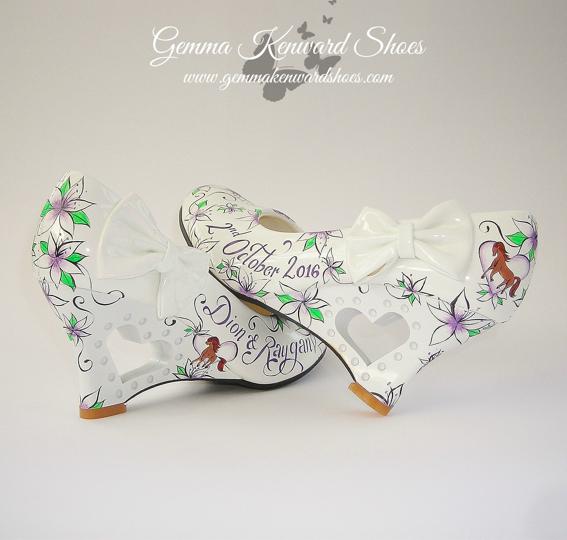 Hand Painted purple , green and white bridal shoes