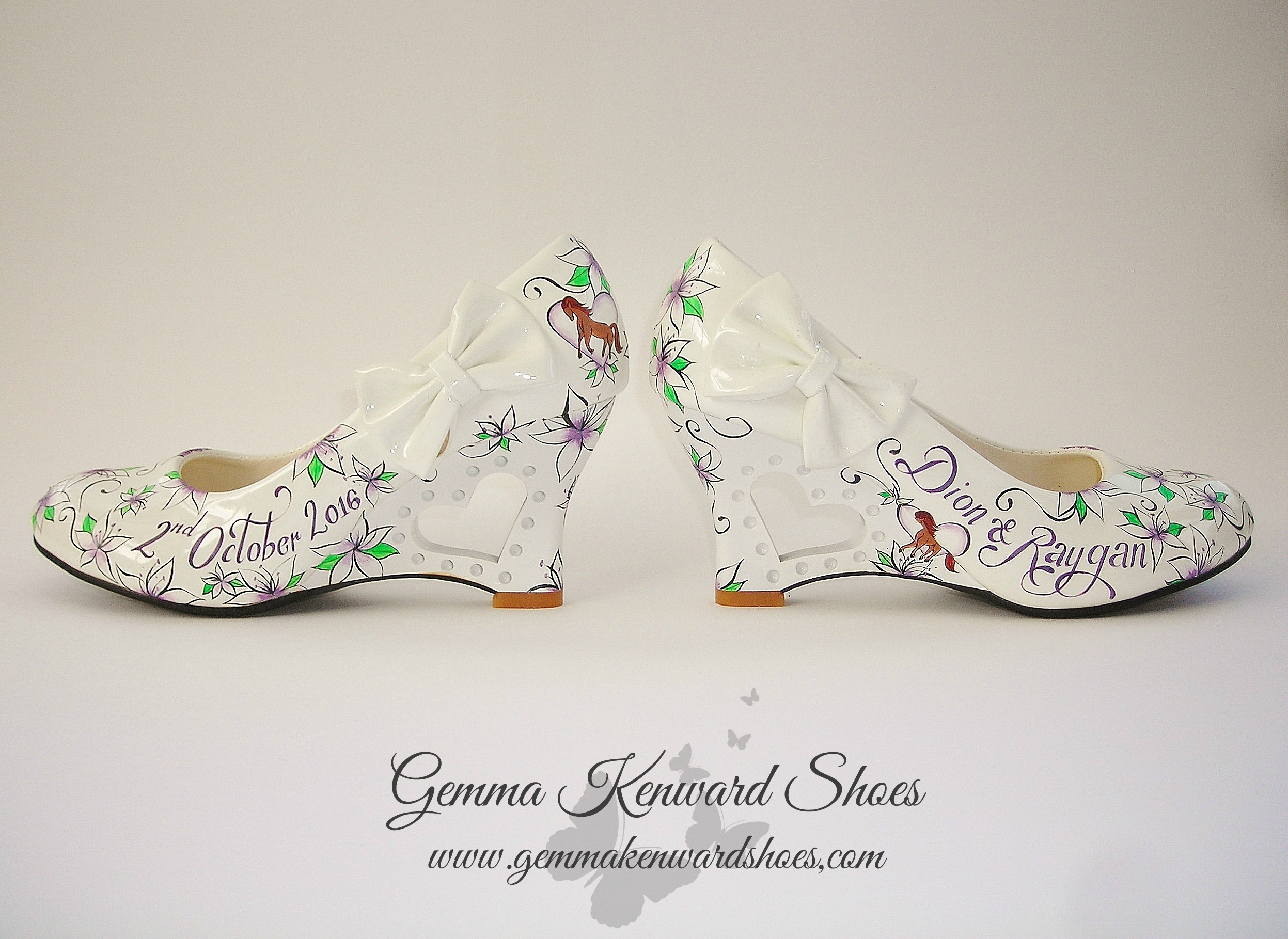 Hand Painted Purple and green wedding shoes
