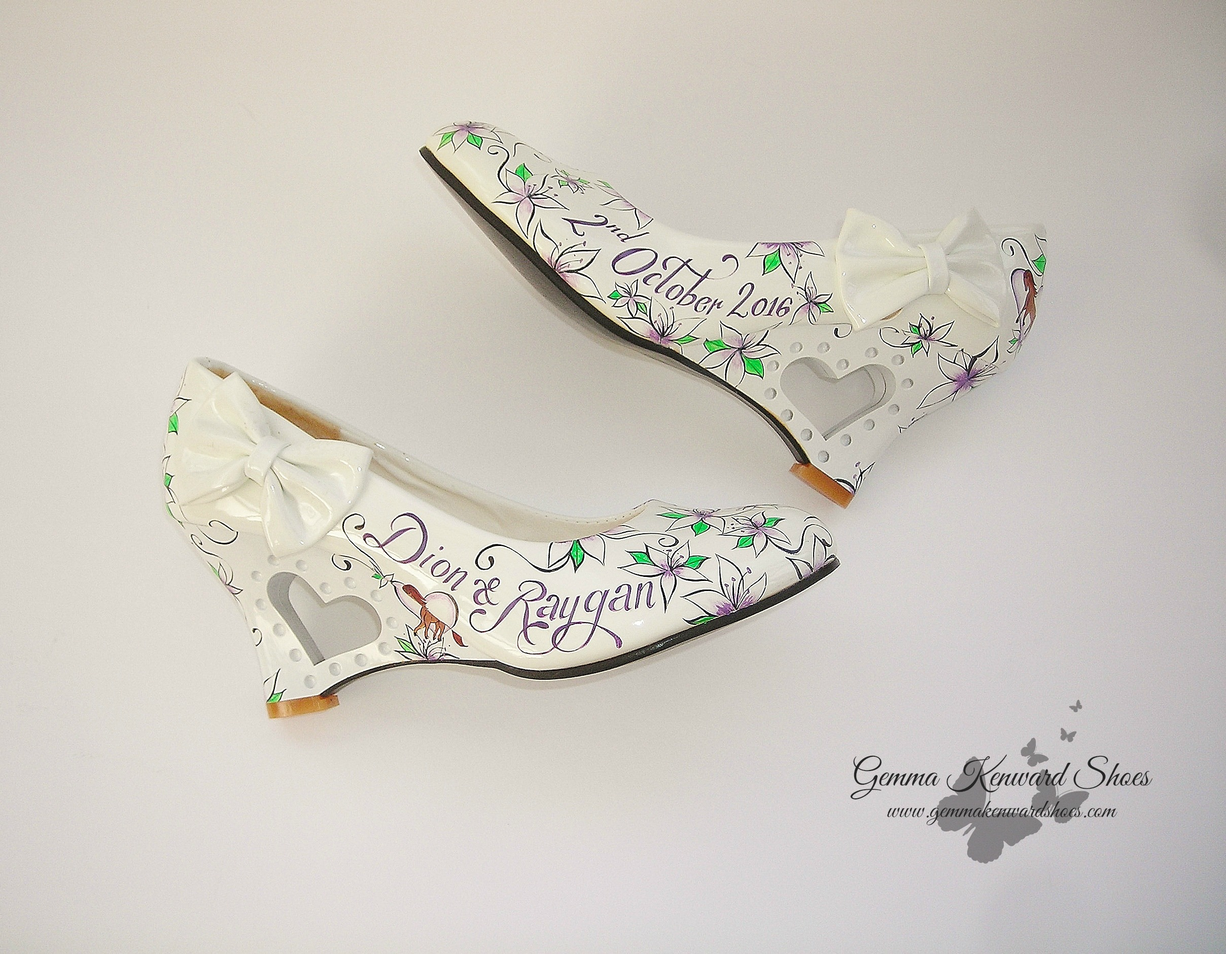 Personalised flowers and horses bridal wedges