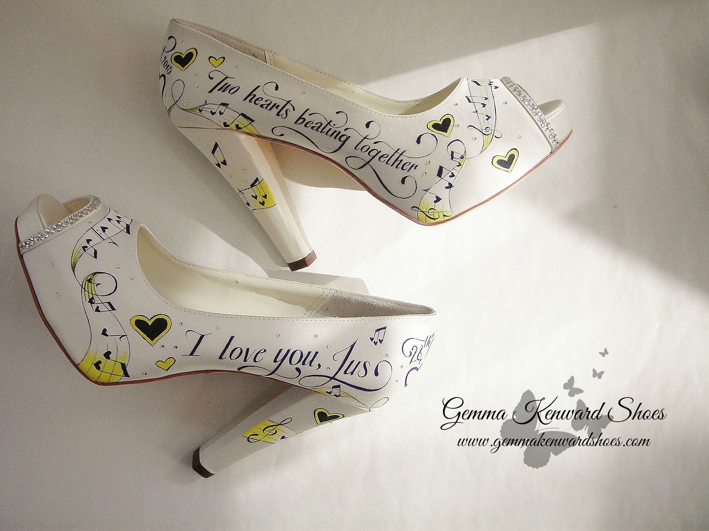 Yellow Hand Painted Brides Shoes with Musical Notes
