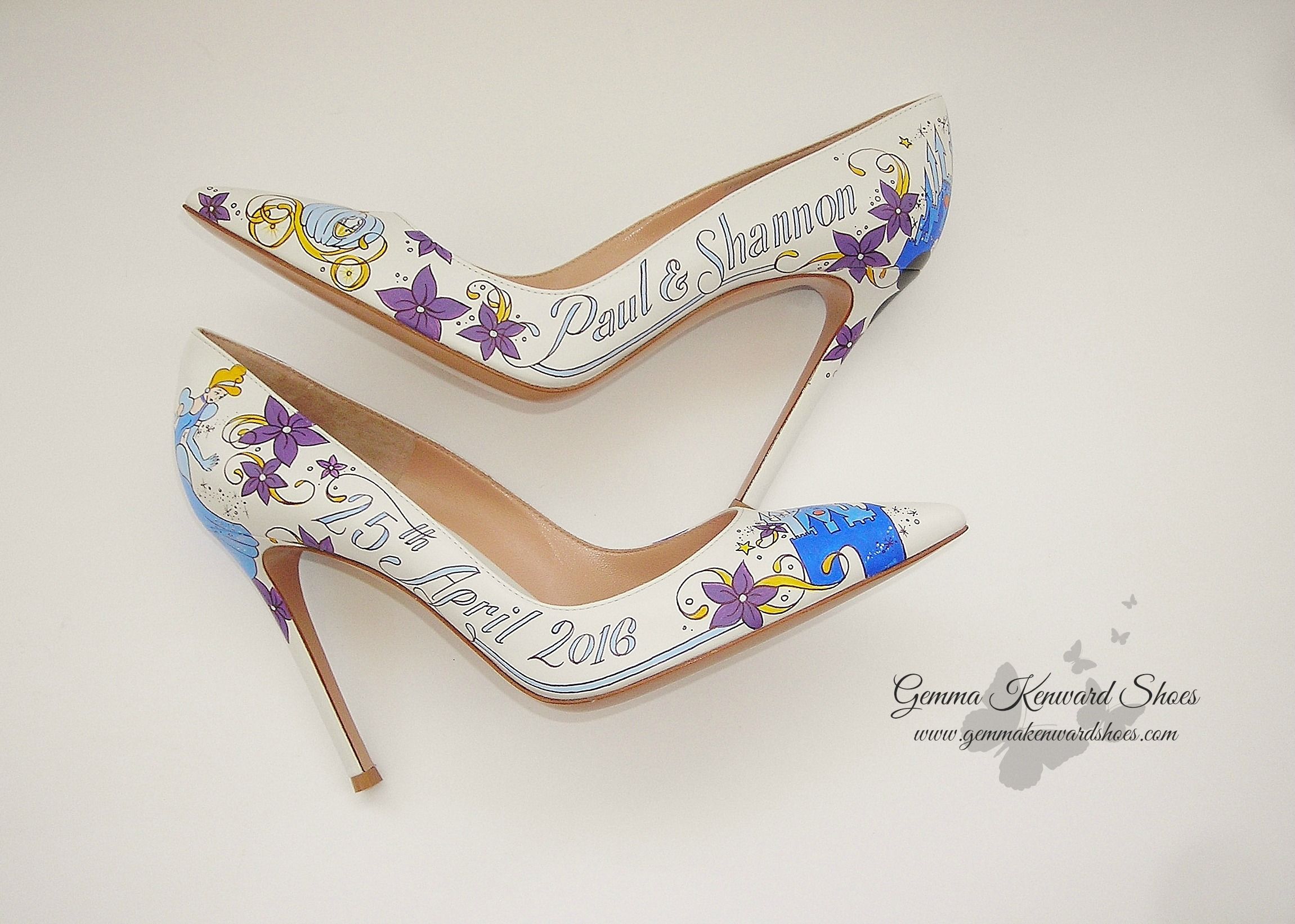 Wedding shoes hand painted with Cinderella, Mickey Mouse ears, Tinkerbell and even Cinderellas pumpkin carriage!