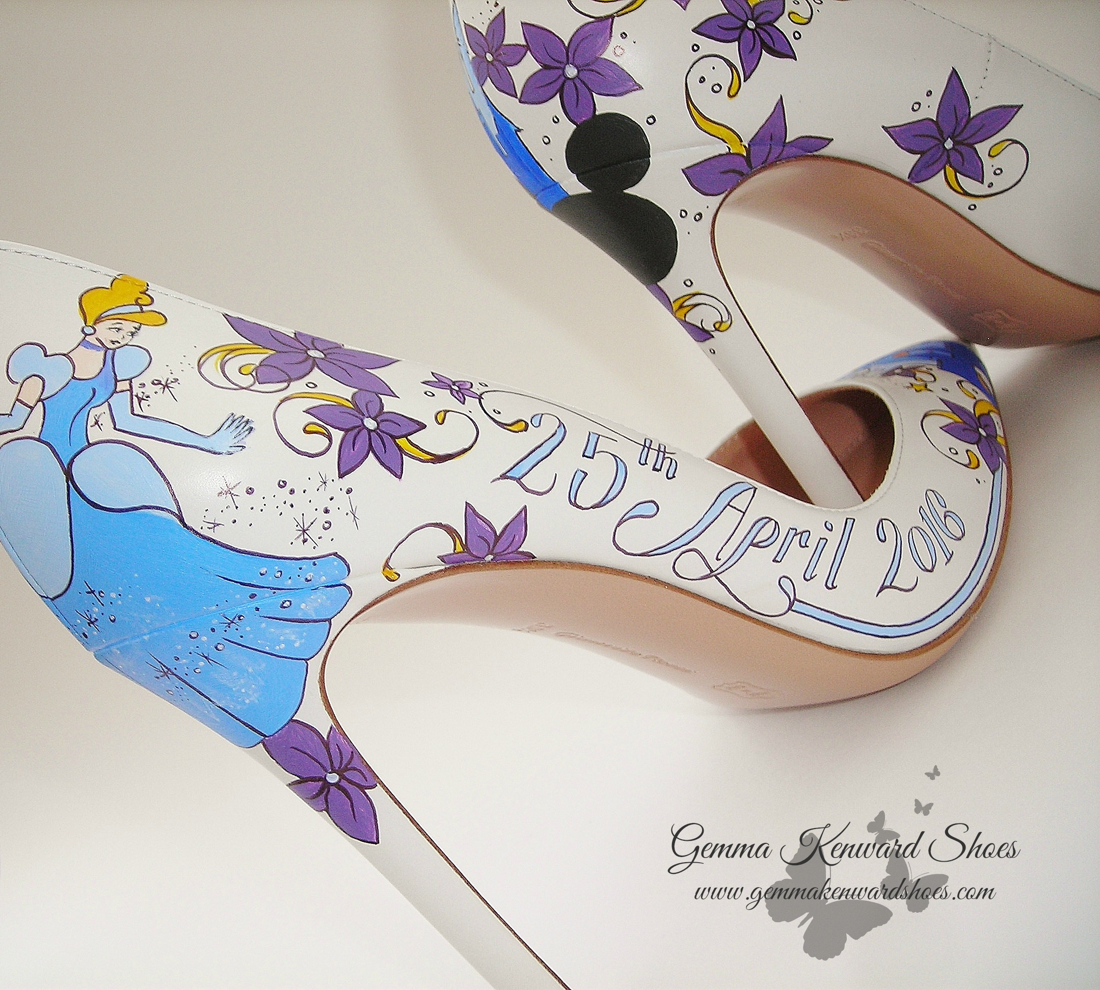 Cinderella princess Disney painted wedding shoes