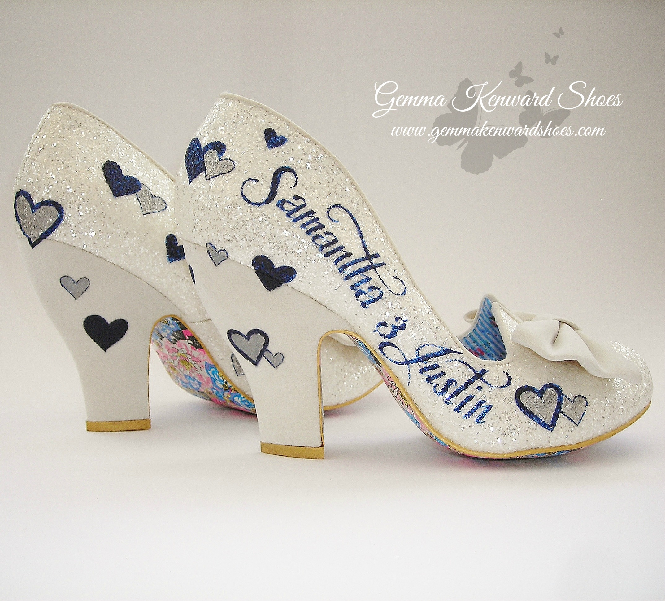 Irregular Choice Silver and Navy personalised wedding shoes