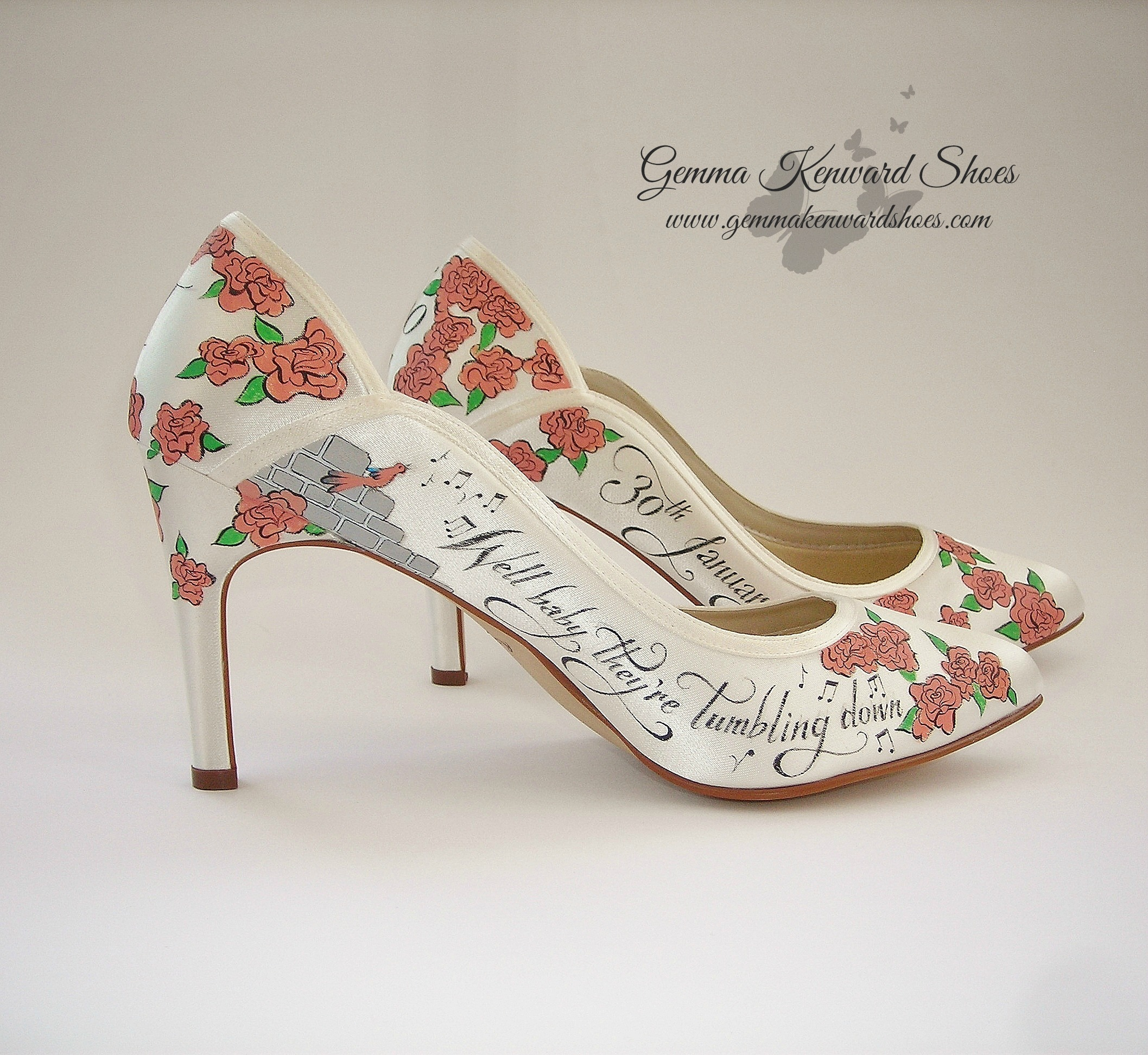 Lyrics painted on a pair of hand painted wedding shoes