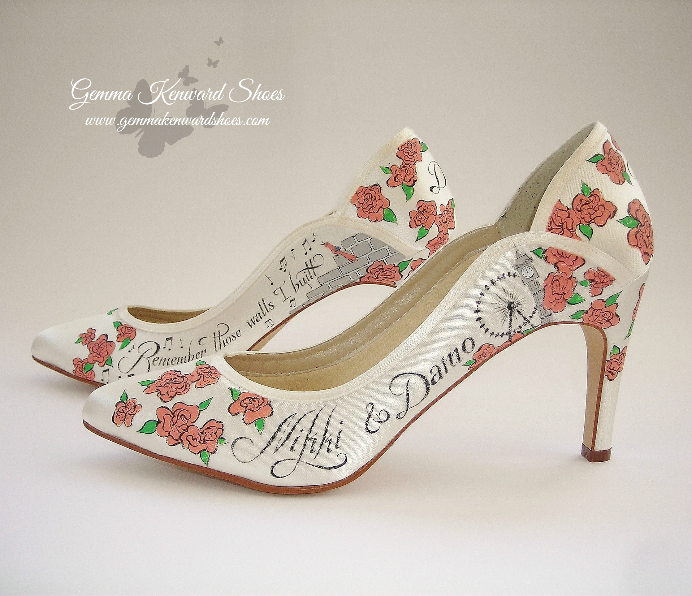 Roses and London skyline custom painted onto a pair of brides shoes