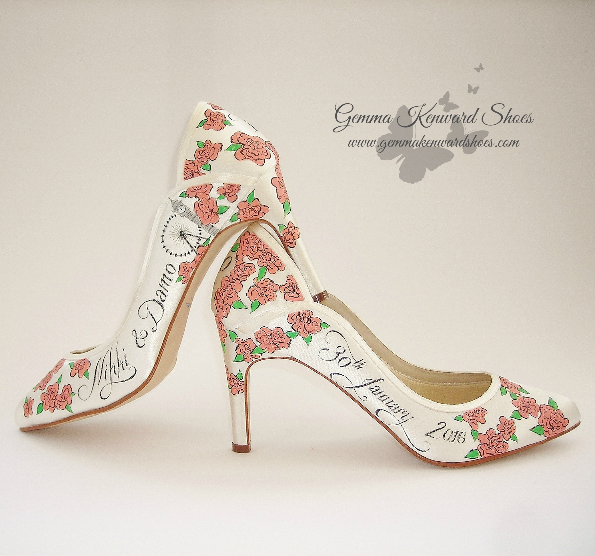Ivory Rainbow Club wedding shoes hand painted with illustrations